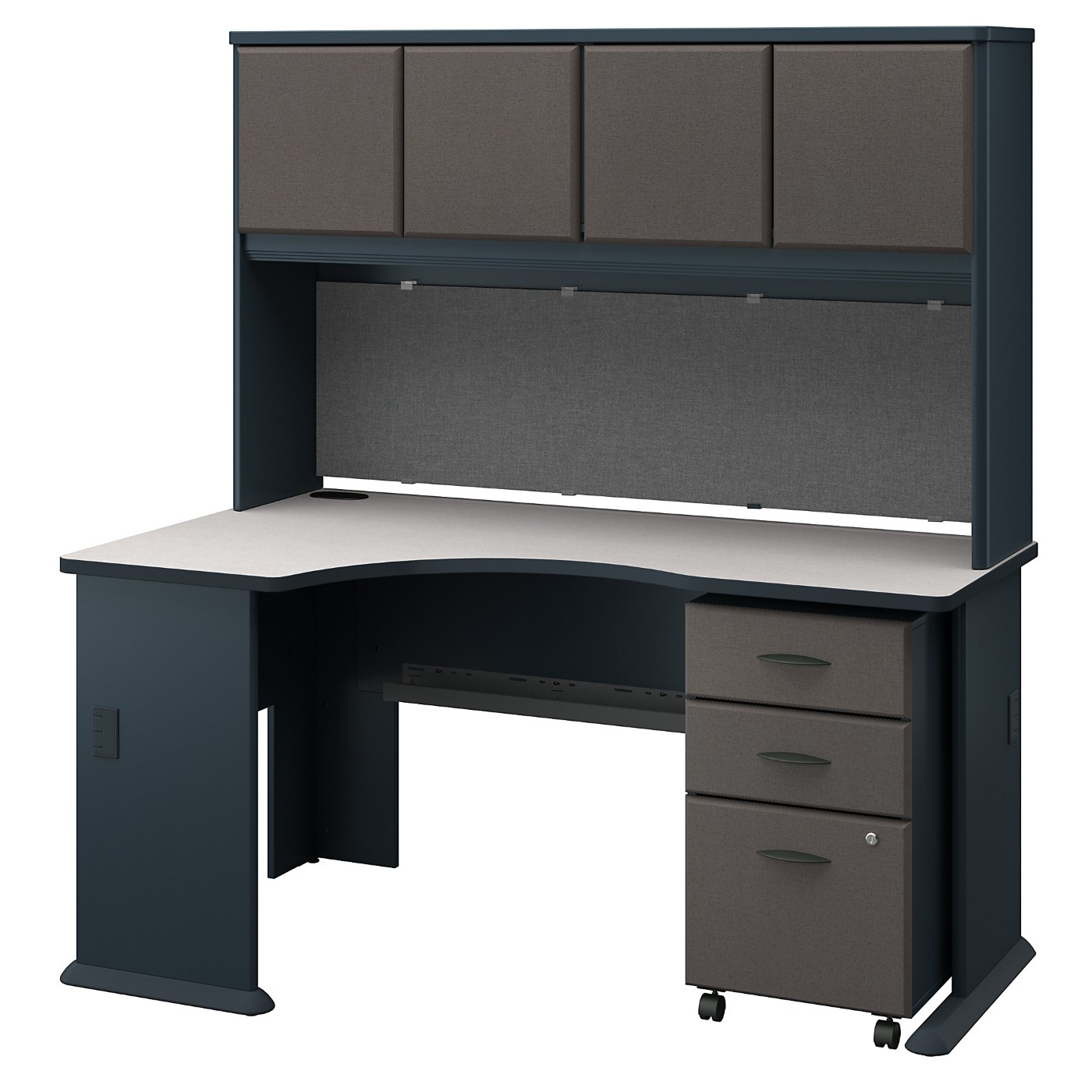 BUSH BUSINESS FURNITURE SERIES A LEFT CORNER DESK WITH HUTCH AND MOBILE FILE CABINET. FREE SHIPPING
