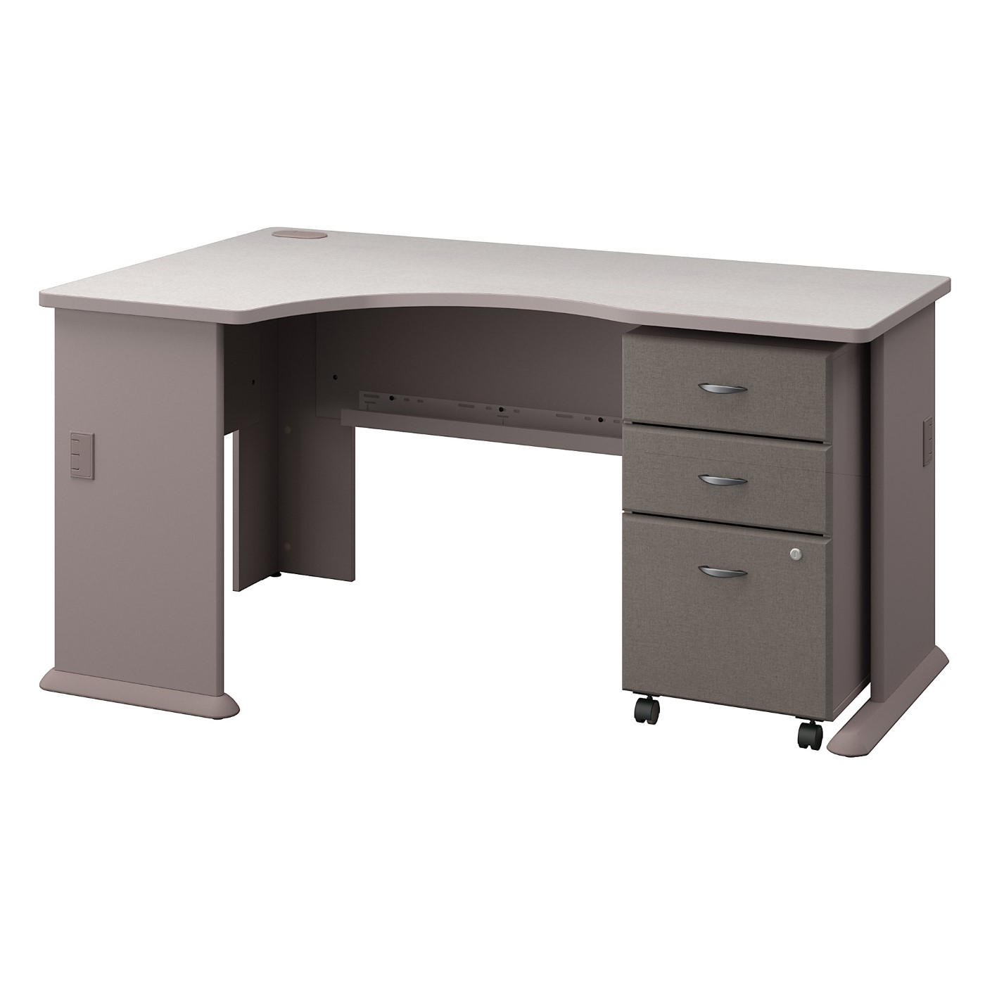 BUSH BUSINESS FURNITURE SERIES A LEFT CORNER DESK WITH MOBILE FILE CABINET. FREE SHIPPING