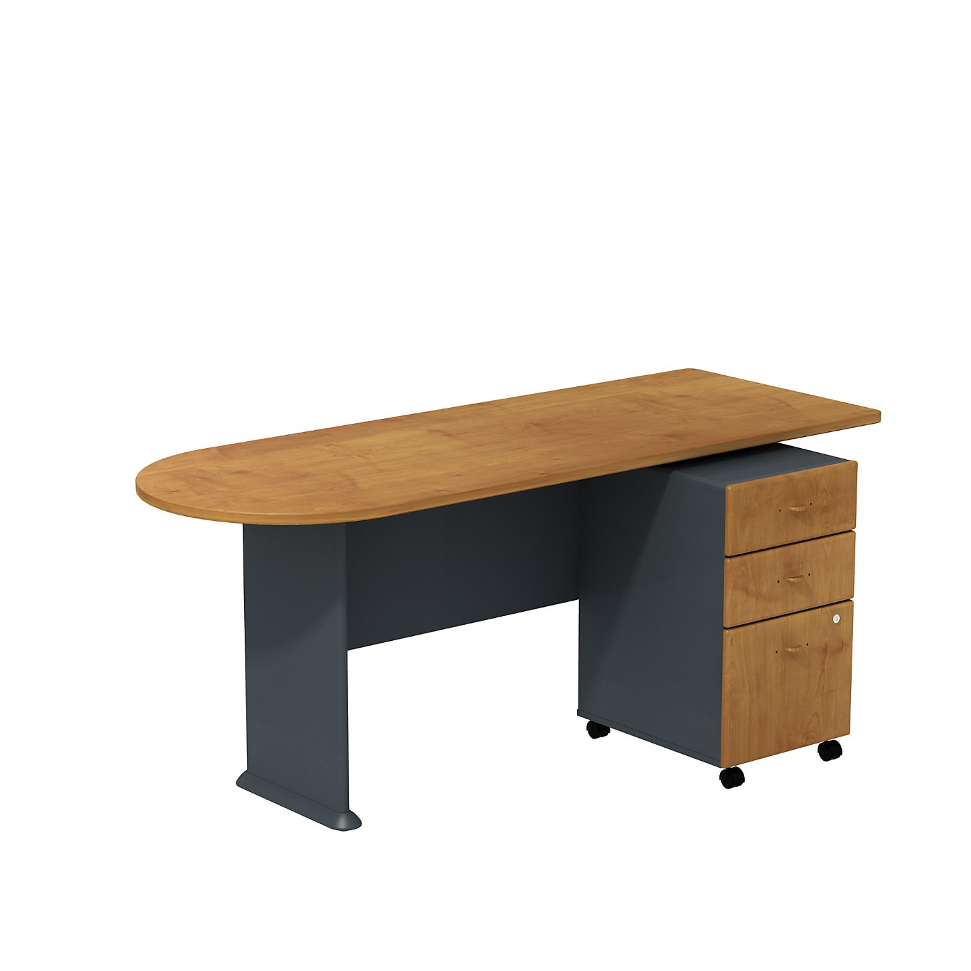 BUSH BUSINESS FURNITURE SERIES A PENINSULA DESK WITH 3 DRAWER MOBILE PEDESTAL. FREE SHIPPING
