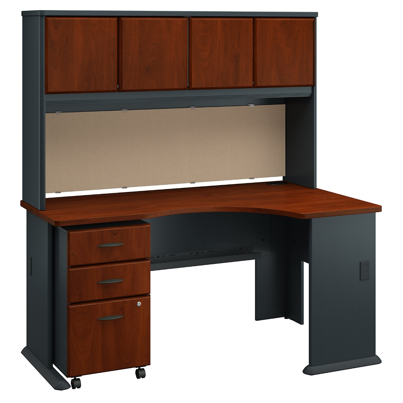 BUSH BUSINESS FURNITURE SERIES A RIGHT CORNER DESK WITH HUTCH AND MOBILE FILE CABINET. FREE SHIPPING
