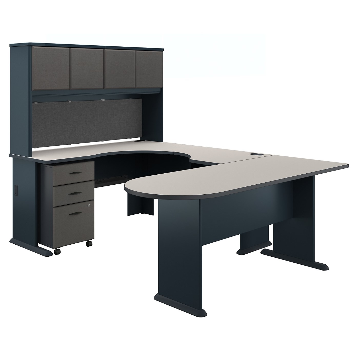 BUSH BUSINESS FURNITURE SERIES A U SHAPED CORNER DESK WITH HUTCH AND MOBILE FILE CABINET. FREE SHIPPING SALE DEDUCT 10% MORE ENTER '10percent' IN COUPON CODE BOX WHILE CHECKING OUT.