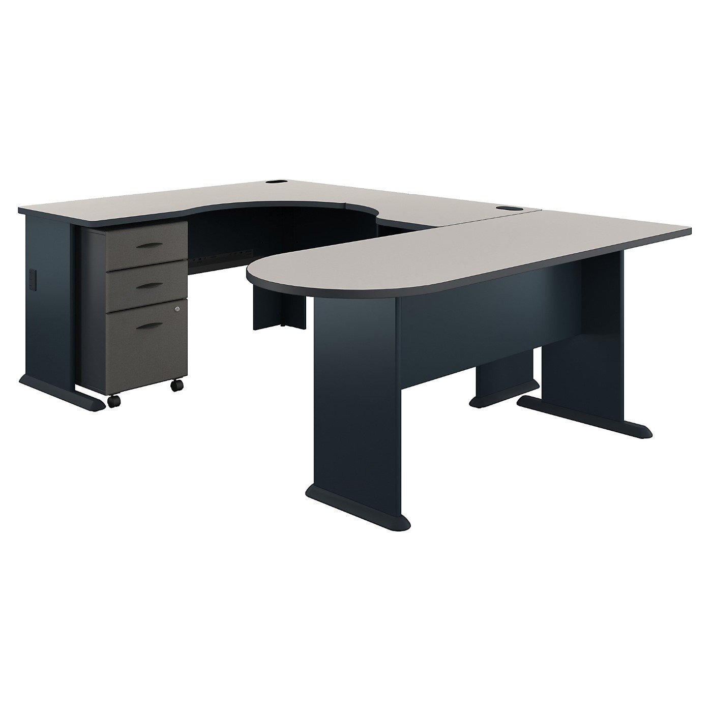 BUSH BUSINESS FURNITURE SERIES A U SHAPED CORNER DESK WITH MOBILE FILE CABINET. FREE SHIPPING