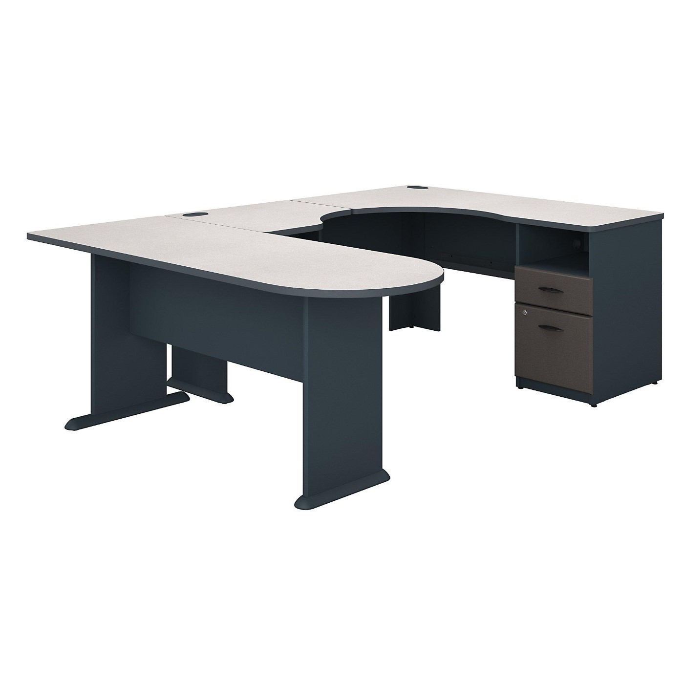 BUSH BUSINESS FURNITURE SERIES A U SHAPED CORNER DESK WITH PENINSULA AND STORAGE. FREE SHIPPING.