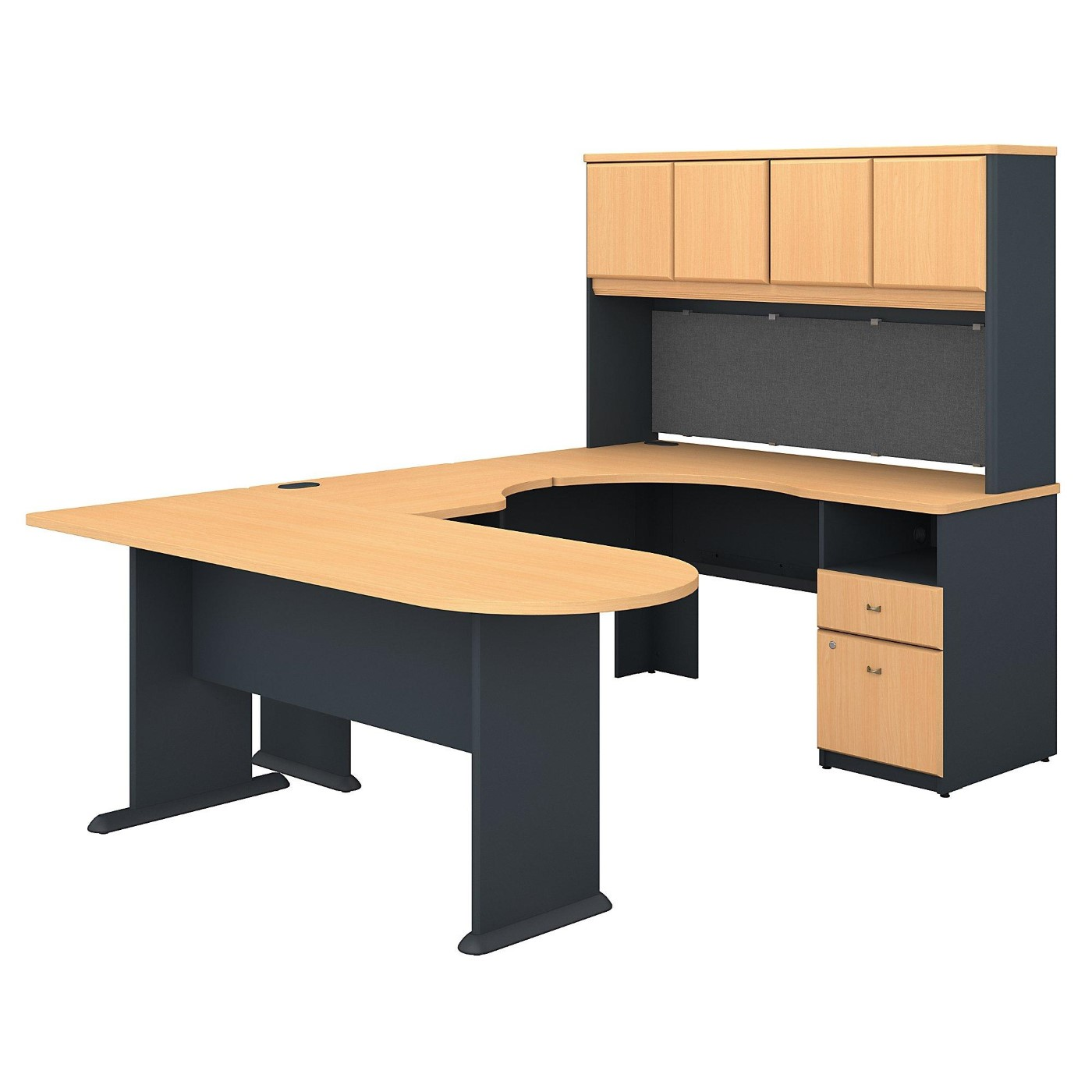 BUSH BUSINESS FURNITURE SERIES A U SHAPED DESK WITH HUTCH, PENINSULA AND STORAGE. FREE SHIPPING.