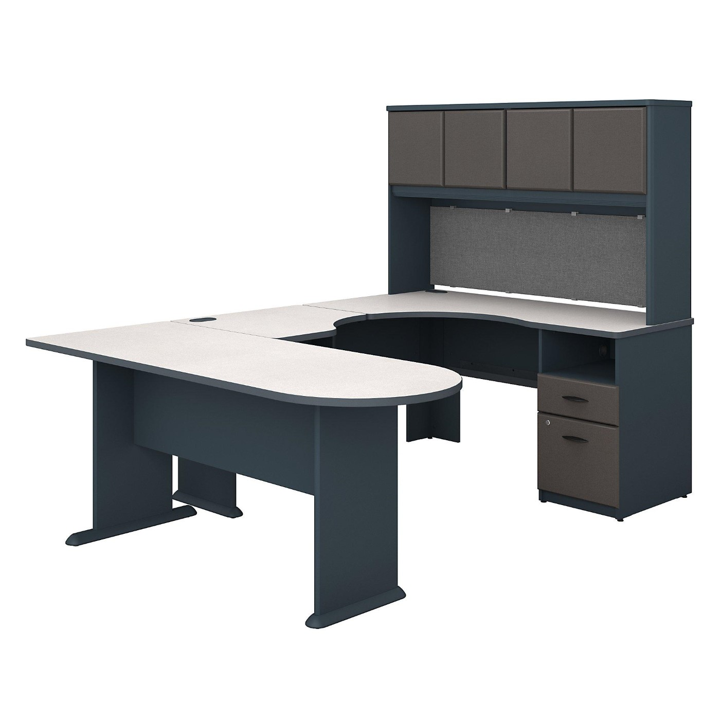 BUSH BUSINESS FURNITURE SERIES A U SHAPED DESK WITH HUTCH, PENINSULA AND STORAGE. FREE SHIPPING  VIDEO BELOW.