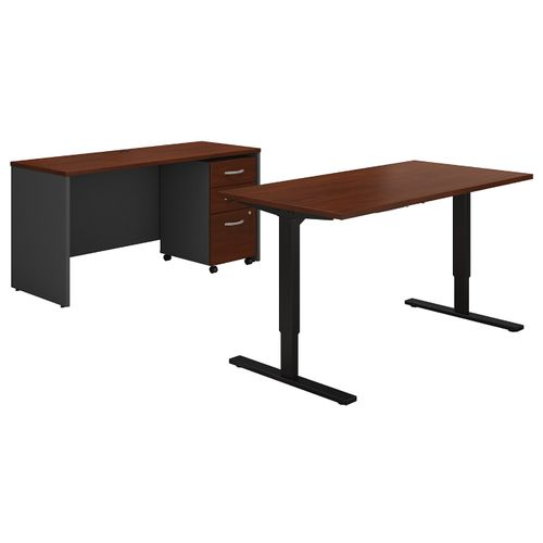 BUSH BUSINESS FURNITURE SERIES C 60W HEIGHT ADJUSTABLE STANDING DESK, CREDENZA AND STORAGE. FREE SHIPPING