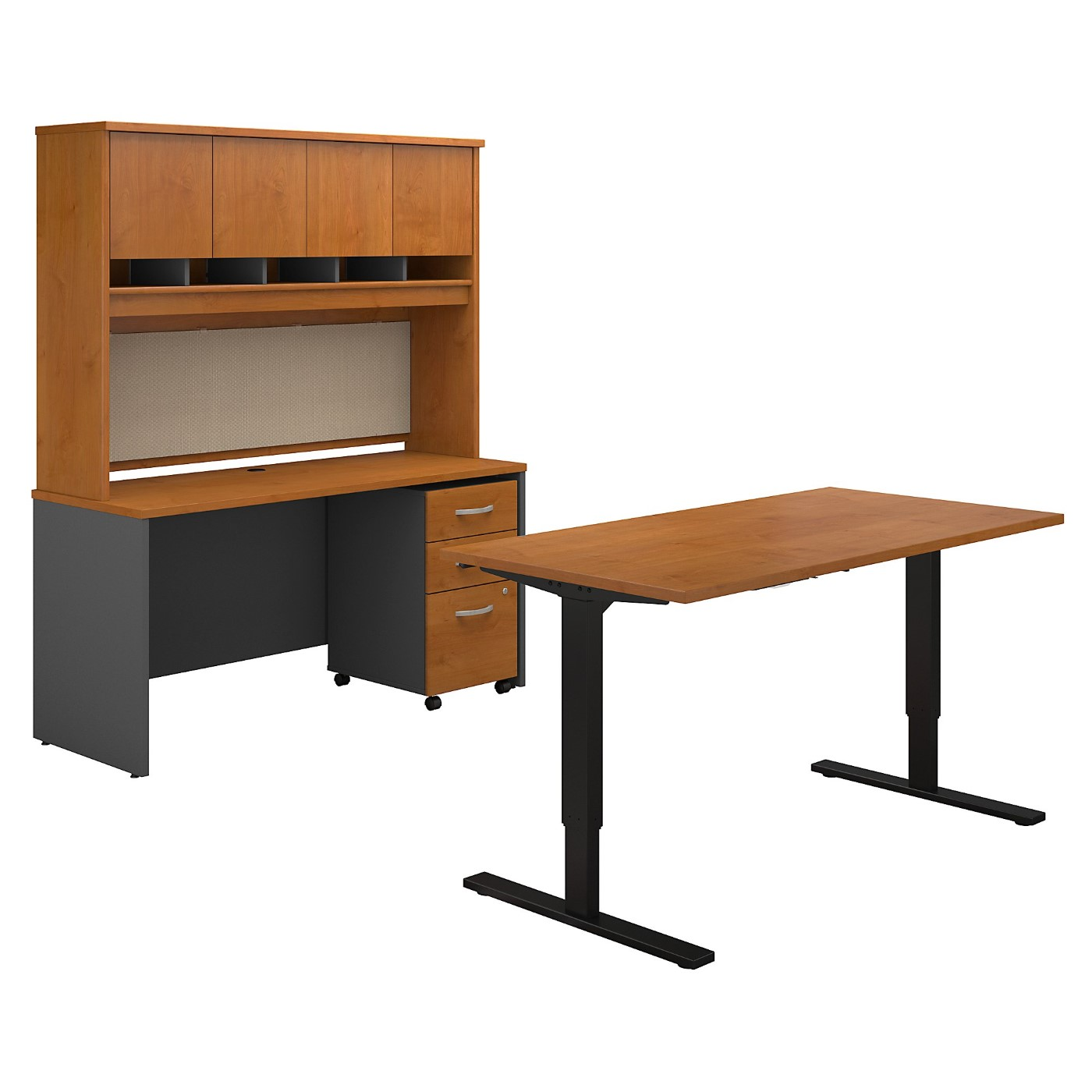 BUSH BUSINESS FURNITURE SERIES C 60W HEIGHT ADJUSTABLE STANDING DESK, CREDENZA, HUTCH AND STORAGE. FREE SHIPPING