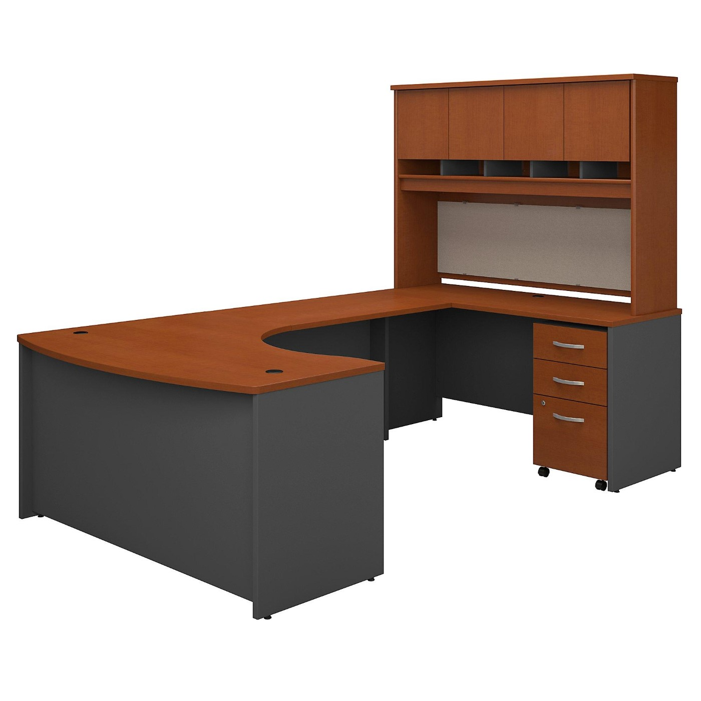 <font color=#c60><b>BUSH BUSINESS FURNITURE SERIES C 60W LEFT HANDED BOW FRONT U SHAPED DESK WITH HUTCH AND STORAGE. FREE SHIPPING</font></b></font>