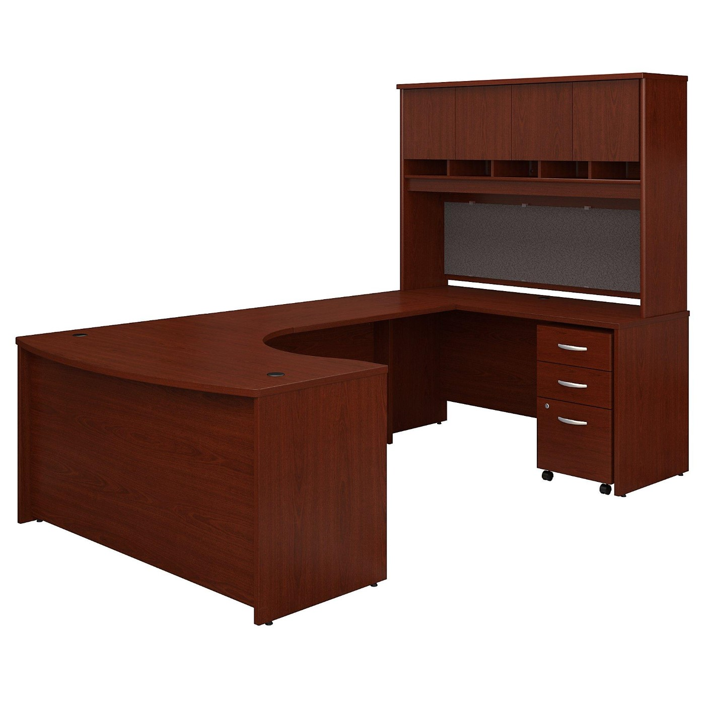 BUSH BUSINESS FURNITURE SERIES C 60W LEFT HANDED BOW FRONT U SHAPED DESK WITH HUTCH AND STORAGE. FREE SHIPPING  VIDEO BELOW.