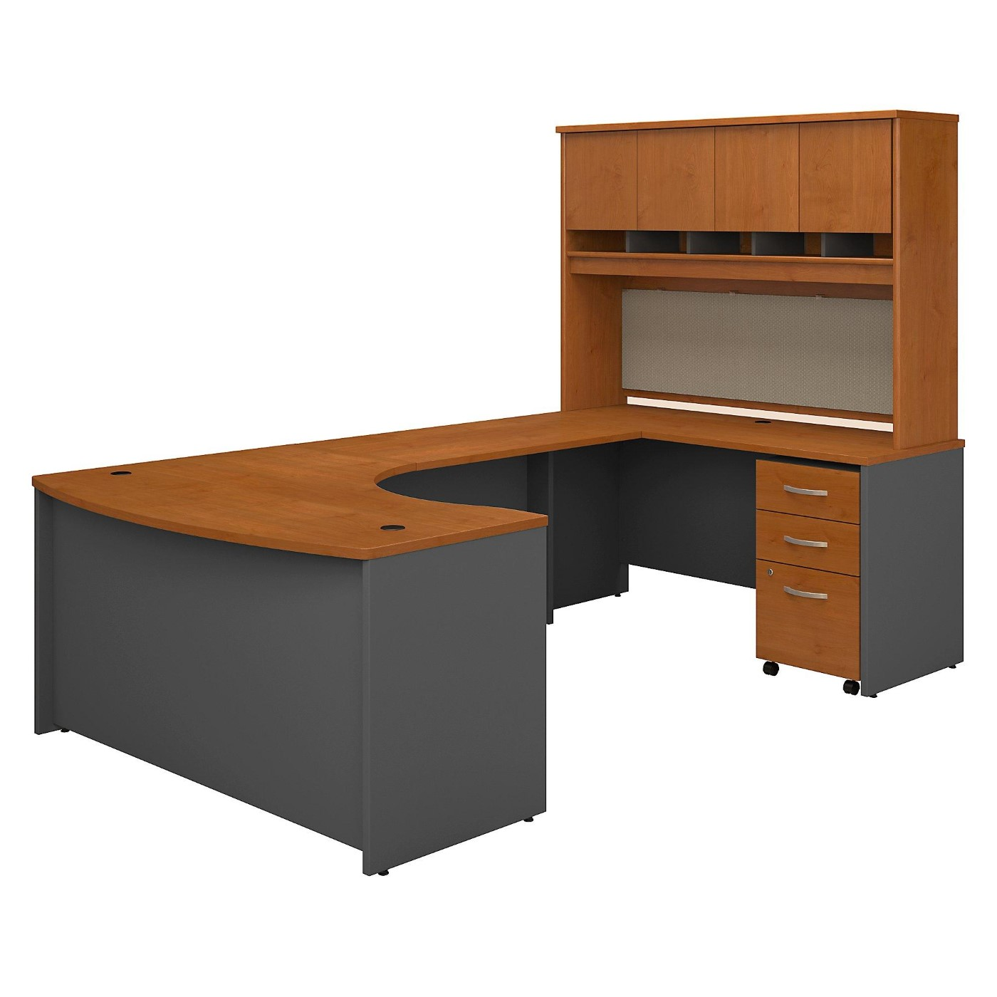 BUSH BUSINESS FURNITURE SERIES C 60W LEFT HANDED BOW FRONT U SHAPED DESK WITH HUTCH AND STORAGE. FREE SHIPPING.