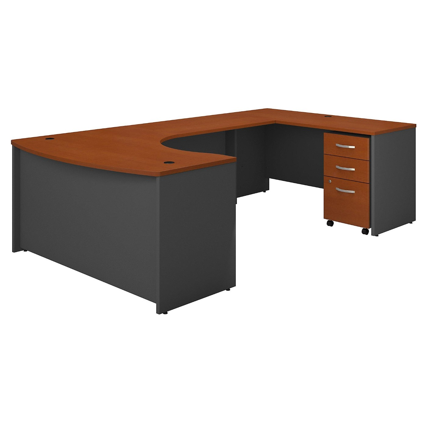 BUSH BUSINESS FURNITURE SERIES C 60W LEFT HANDED BOW FRONT U SHAPED DESK WITH MOBILE FILE CABINET. FREE SHIPPING  VIDEO BELOW.