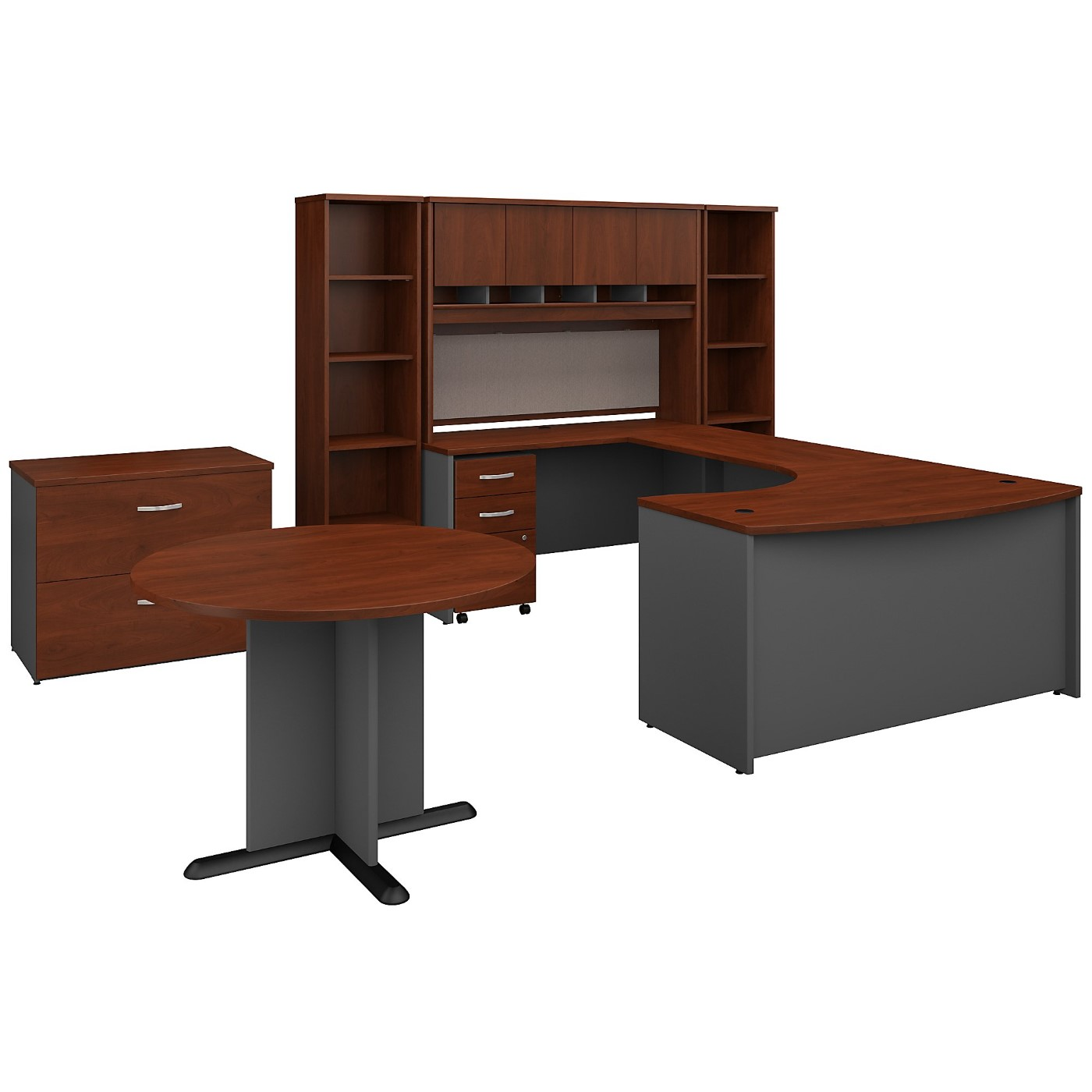 BUSH BUSINESS FURNITURE SERIES C 60W LEFT HANDED BOW FRONT U SHAPED DESK WITH STORAGE AND CONFERENCE TABLE. FREE SHIPPING