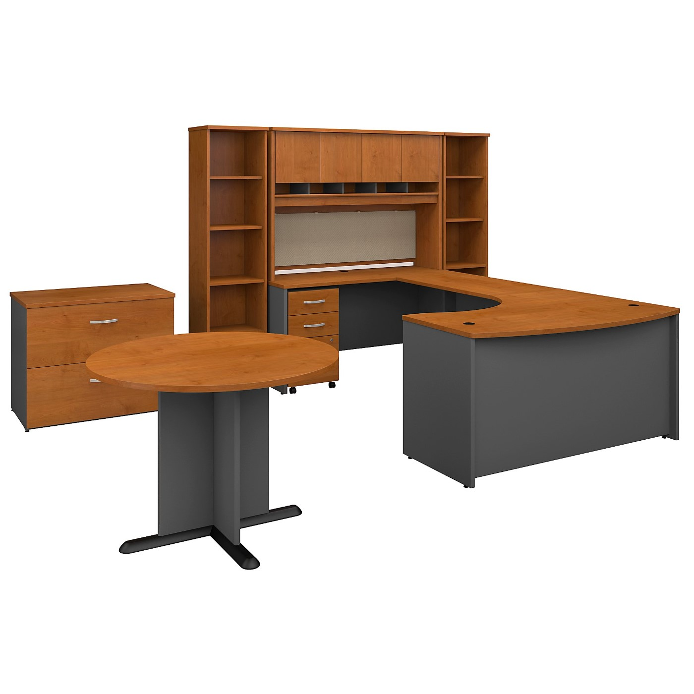 BUSH BUSINESS FURNITURE SERIES C 60W LEFT HANDED BOW FRONT U SHAPED DESK WITH STORAGE AND CONFERENCE TABLE. FREE SHIPPING SALE DEDUCT 10% MORE ENTER '10percent' IN COUPON CODE BOX WHILE CHECKING OUT.