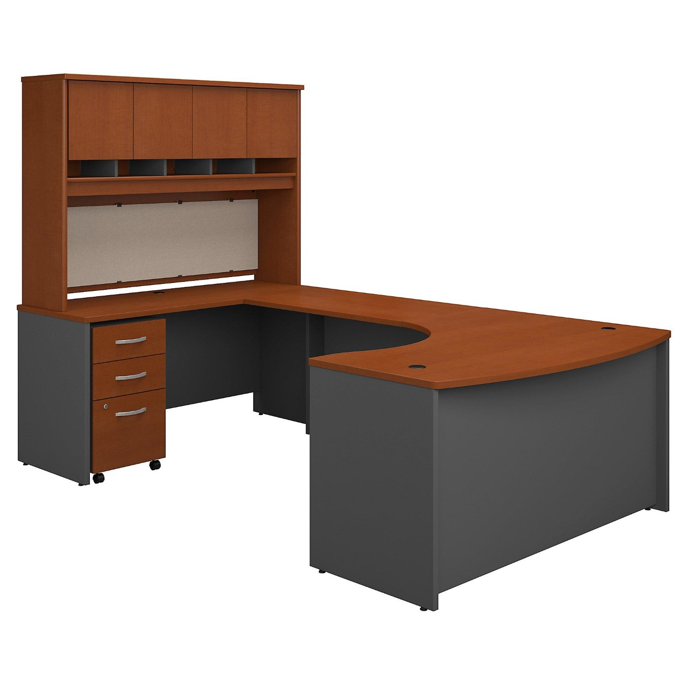 BUSH BUSINESS FURNITURE SERIES C 60W RIGHT HANDED BOW FRONT U SHAPED DESK WITH HUTCH AND STORAGE. FREE SHIPPING  VIDEO BELOW.