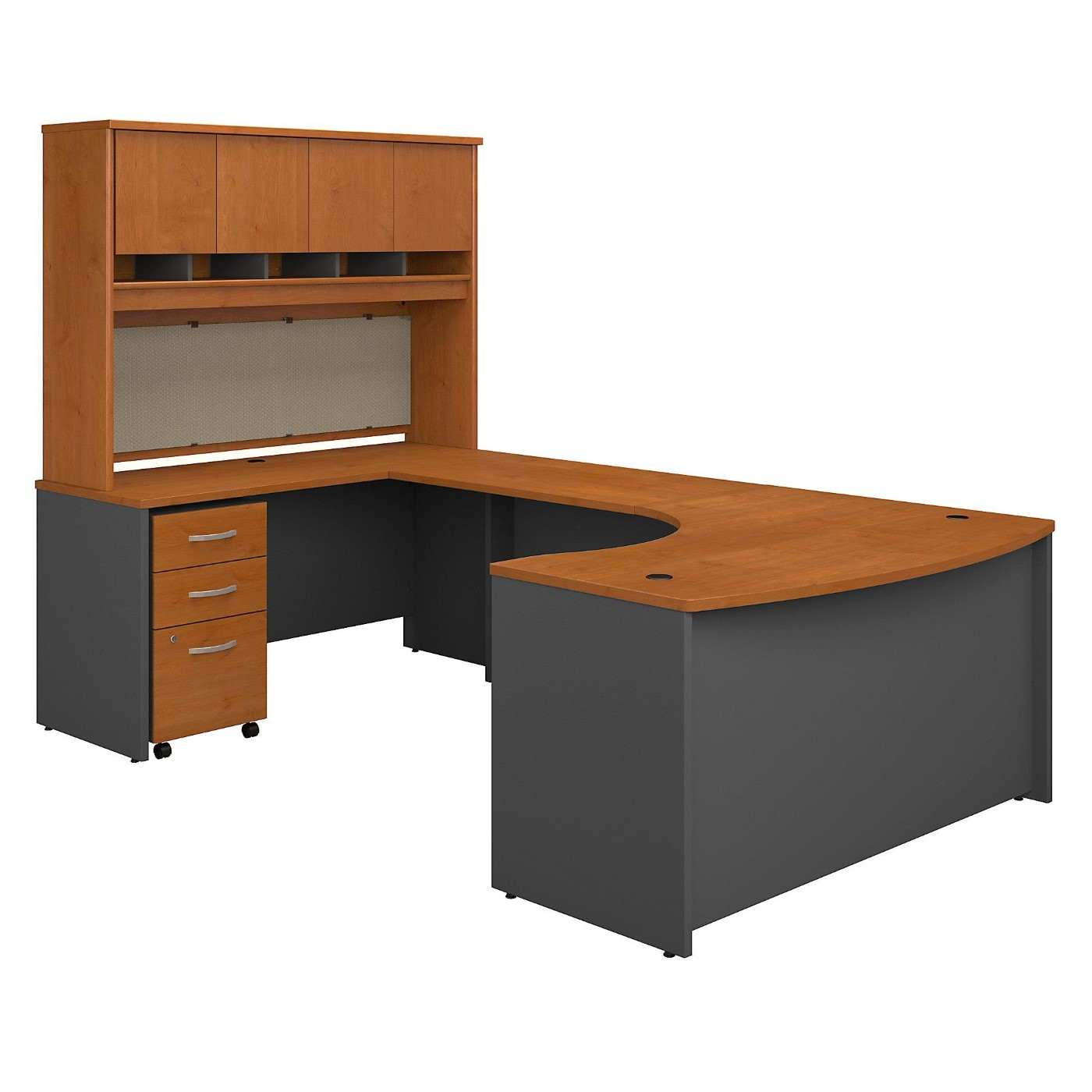 BUSH BUSINESS FURNITURE SERIES C 60W RIGHT HANDED BOW FRONT U SHAPED DESK WITH HUTCH AND STORAGE. FREE SHIPPING  VIDEO BELOW.  SALE DEDUCT 10% MORE ENTER '10percent' IN COUPON CODE BOX WHILE CHECKING OUT.