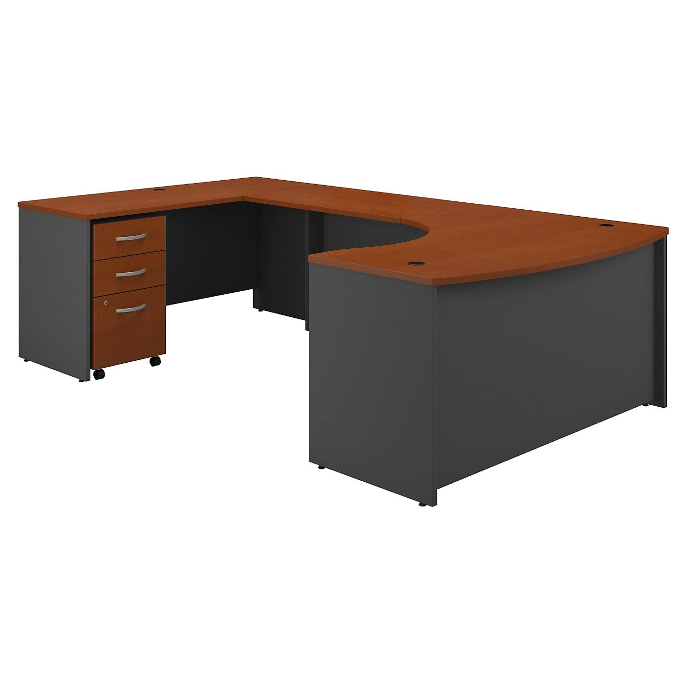 BUSH BUSINESS FURNITURE SERIES C 60W RIGHT HANDED BOW FRONT U SHAPED DESK WITH MOBILE FILE CABINET. FREE SHIPPING  VIDEO BELOW.