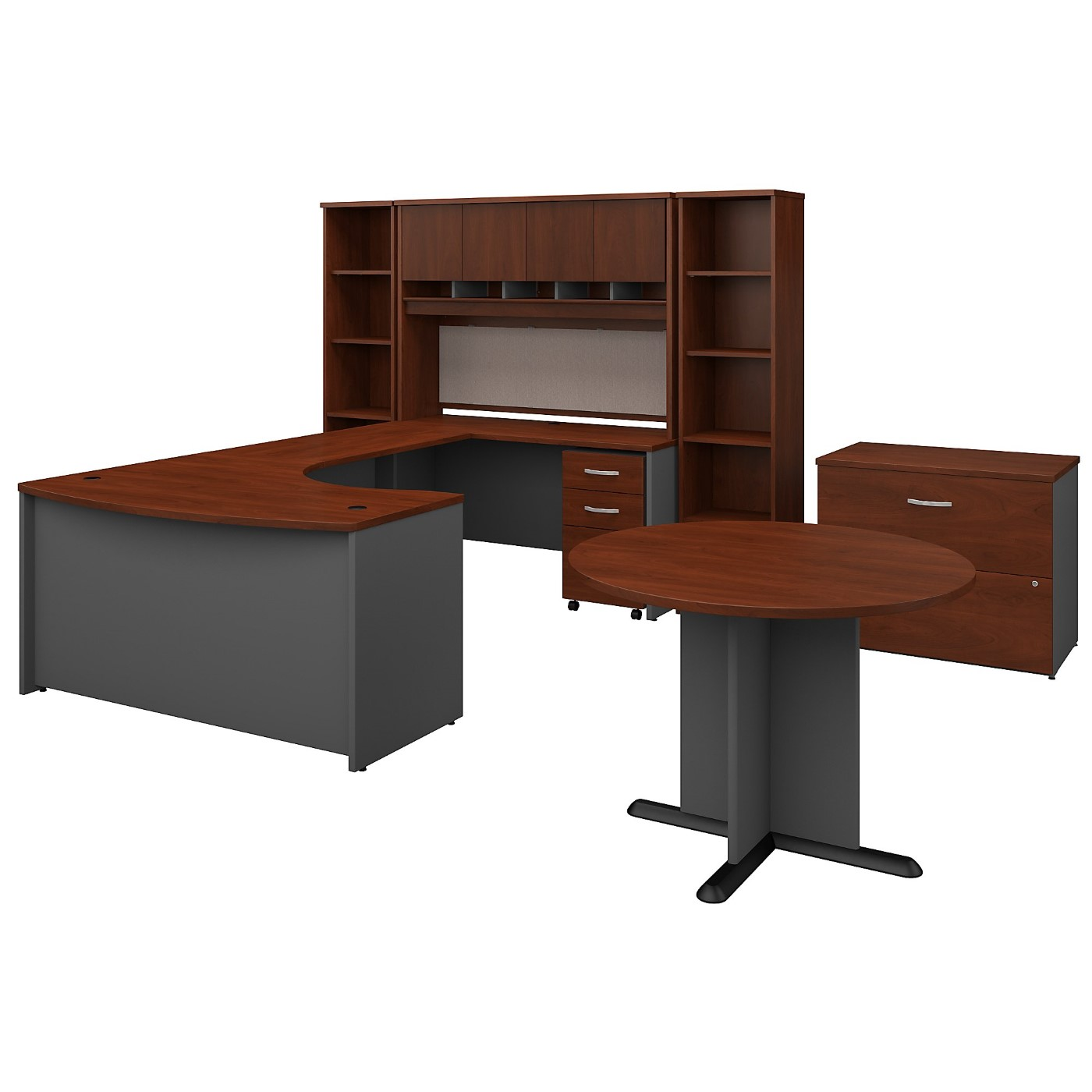 BUSH BUSINESS FURNITURE SERIES C 60W RIGHT HANDED BOW FRONT U SHAPED DESK WITH STORAGE AND CONFERENCE TABLE. FREE SHIPPING