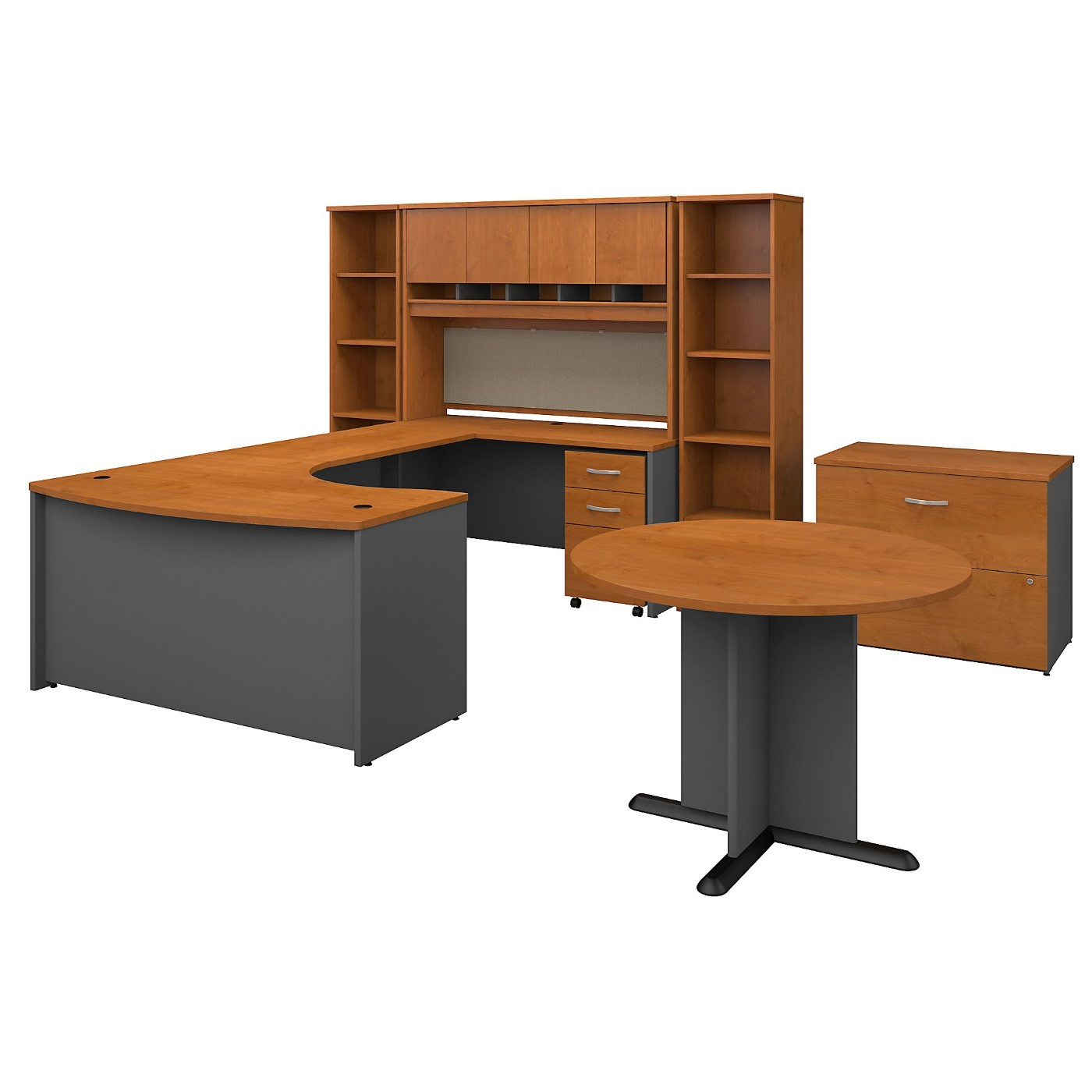 BUSH BUSINESS FURNITURE SERIES C 60W RIGHT HANDED BOW FRONT U SHAPED DESK WITH STORAGE AND CONFERENCE TABLE. FREE SHIPPING SALE DEDUCT 10% MORE ENTER '10percent' IN COUPON CODE BOX WHILE CHECKING OUT.