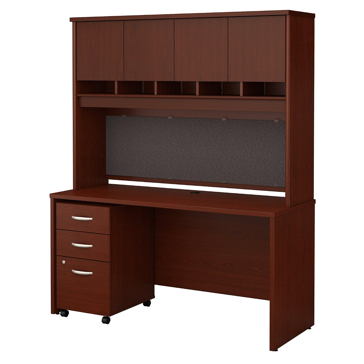 BUSH BUSINESS FURNITURE SERIES C 60W X 24D OFFICE DESK WITH HUTCH AND MOBILE FILE CABINET. FREE SHIPPING  VIDEO BELOW.