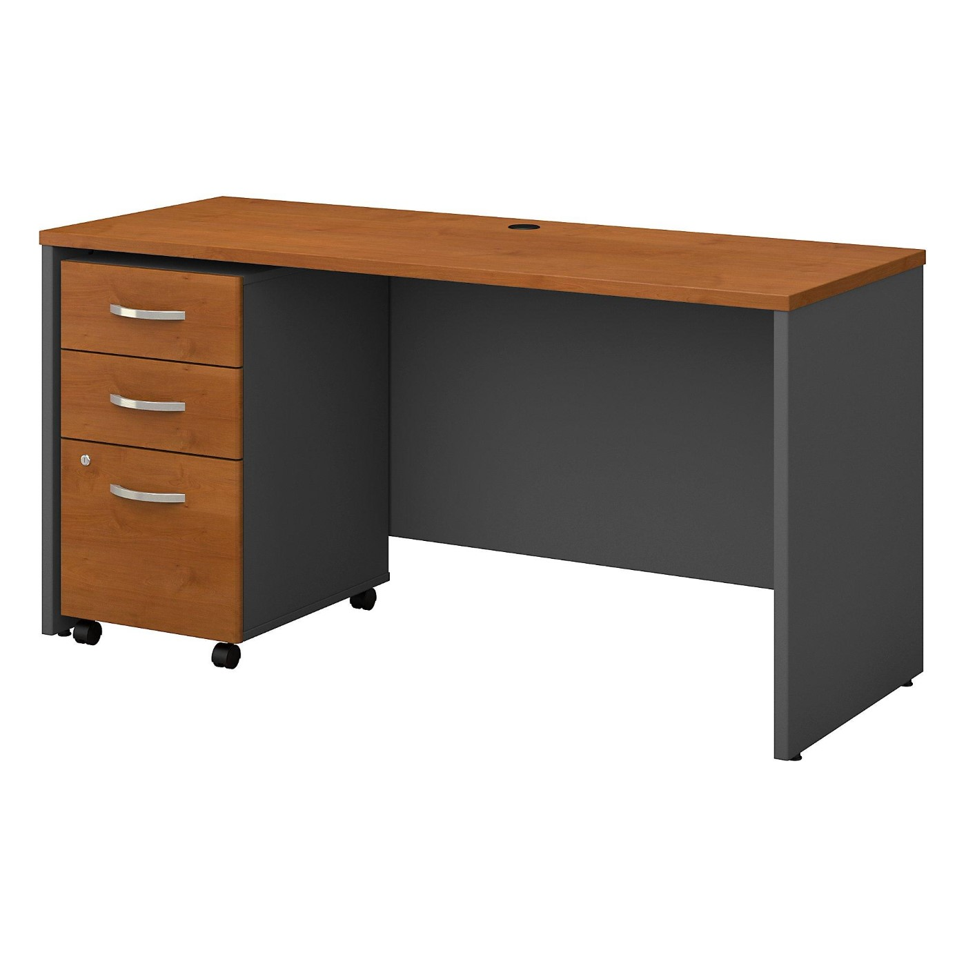 BUSH BUSINESS FURNITURE SERIES C 60W X 24D OFFICE DESK WITH MOBILE FILE CABINET. FREE SHIPPING  VIDEO BELOW.
