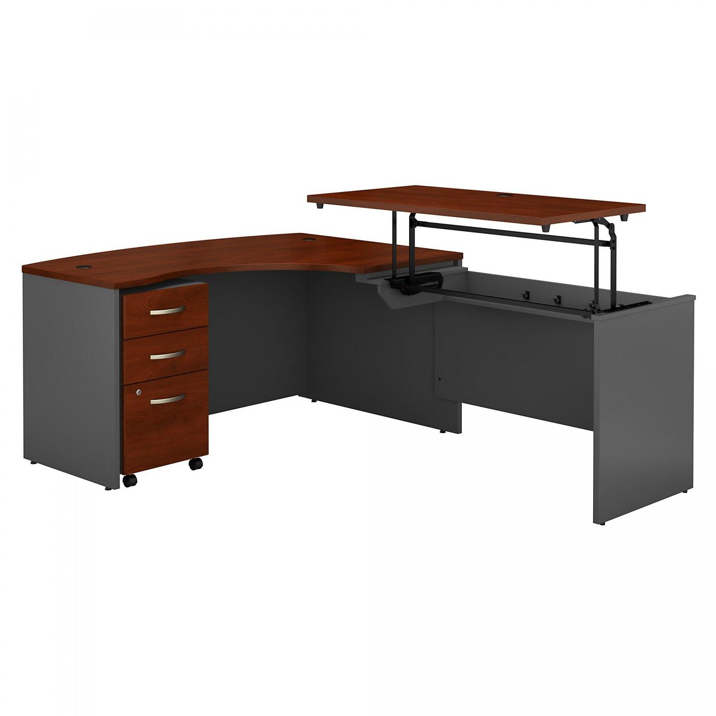 <font color=#c60><b>BUSH BUSINESS FURNITURE SERIES C 60W X 43D LEFT HAND 3 POSITION SIT TO STAND L SHAPED DESK WITH MOBILE FILE CABINET. FREE SHIPPING. VIDEO:</font></b></font></b>