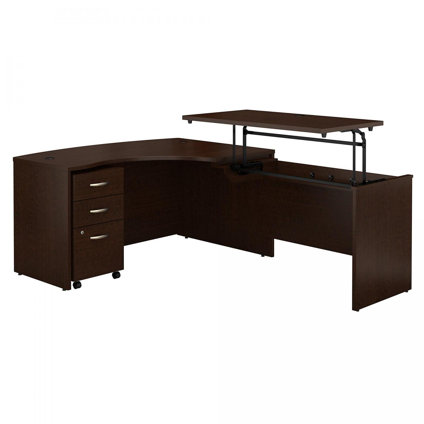 <font color=#c60><b>BUSH BUSINESS FURNITURE SERIES C 60W X 43D LEFT HAND 3 POSITION SIT TO STAND L SHAPED DESK WITH MOBILE FILE CABINET. FREE SHIPPING. VIDEO:</font></b>