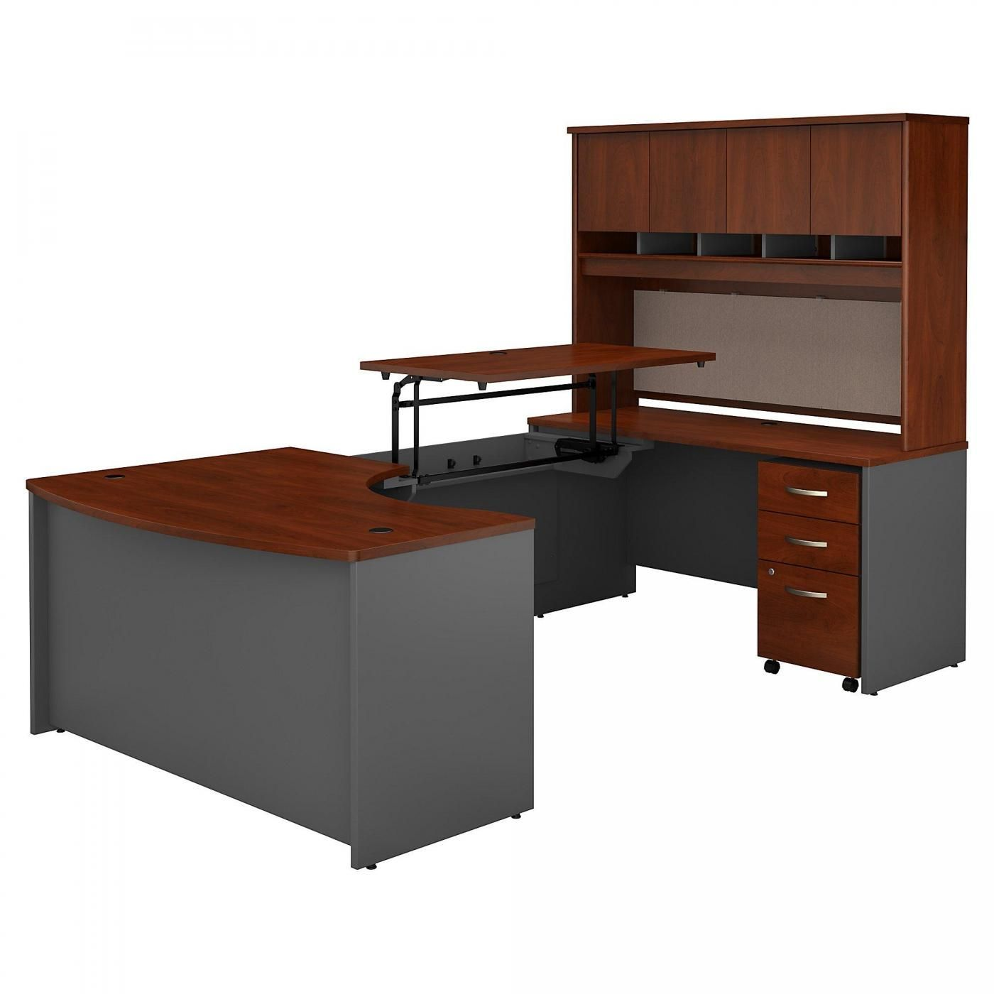 <font color=#c60><b>BUSH BUSINESS FURNITURE SERIES C 60W X 43D LEFT HAND 3 POSITION SIT TO STAND U SHAPED DESK WITH HUTCH AND MOBILE FILE CABINET. FREE SHIPPING. VIDEO:</font></b></font></b>