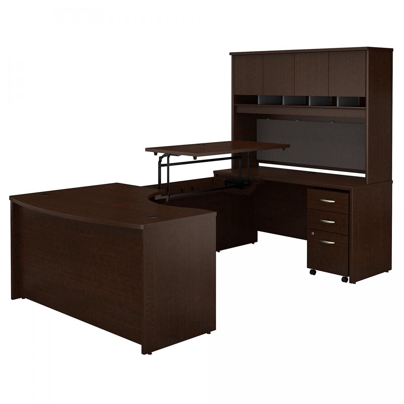 <font color=#c60><b>BUSH BUSINESS FURNITURE SERIES C 60W X 43D LEFT HAND 3 POSITION SIT TO STAND U SHAPED DESK WITH HUTCH AND MOBILE FILE CABINET. FREE SHIPPING. VIDEO:</font></b>
