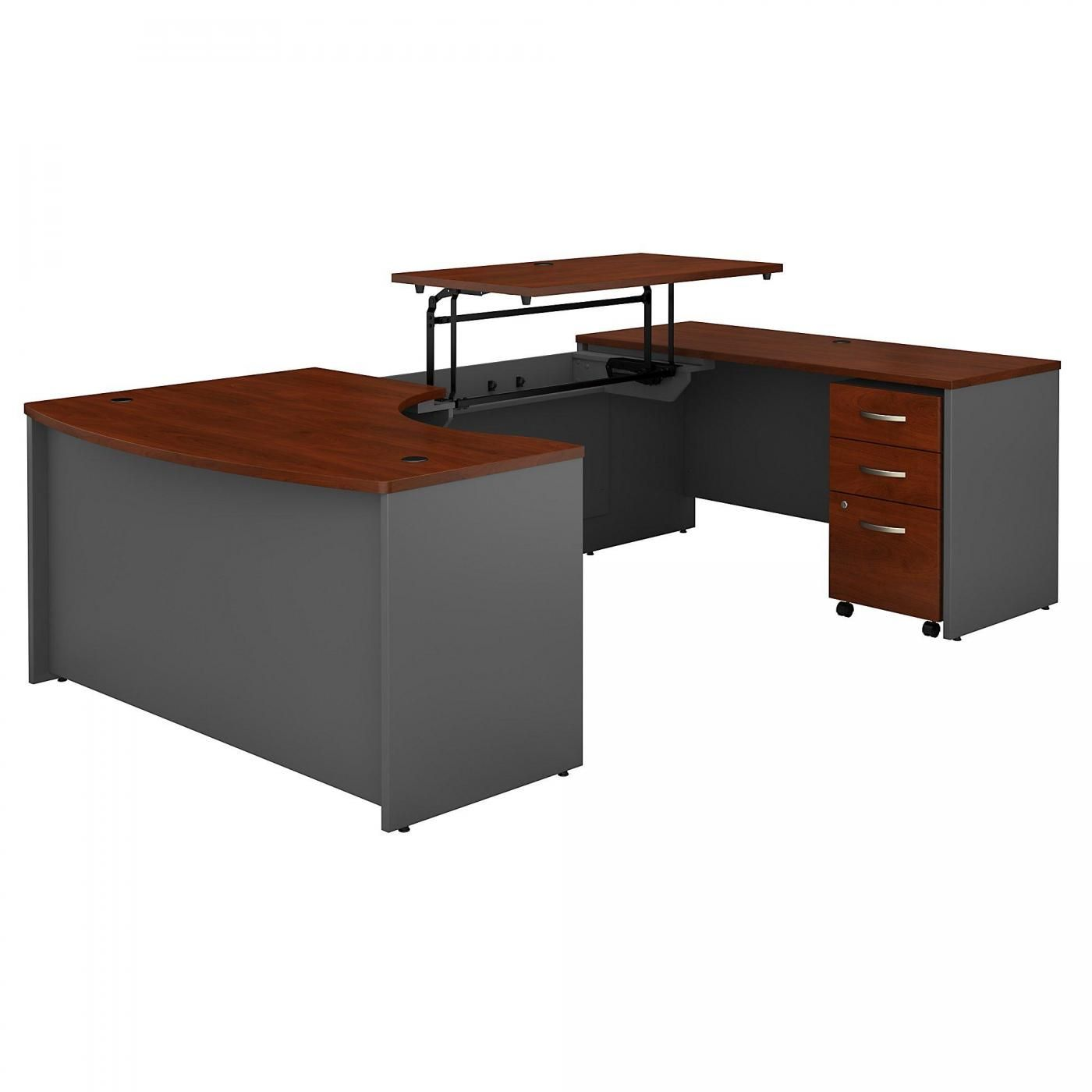 <font color=#c60><b>BUSH BUSINESS FURNITURE SERIES C 60W X 43D LEFT HAND 3 POSITION SIT TO STAND U SHAPED DESK WITH MOBILE FILE CABINET. FREE SHIPPING. VIDEO:</font></b>