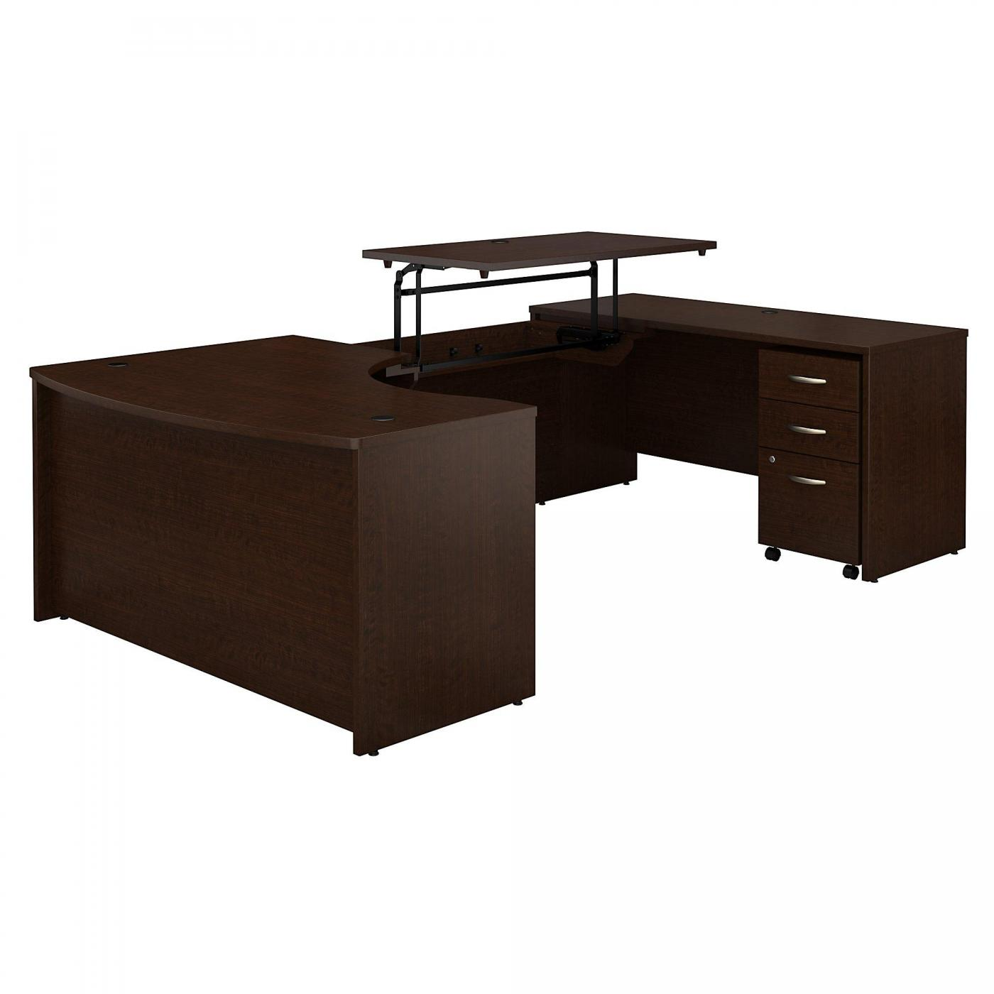 <font color=#c60><b>BUSH BUSINESS FURNITURE SERIES C 60W X 43D LEFT HAND 3 POSITION SIT TO STAND U SHAPED DESK WITH MOBILE FILE CABINET. FREE SHIPPING</font></b>