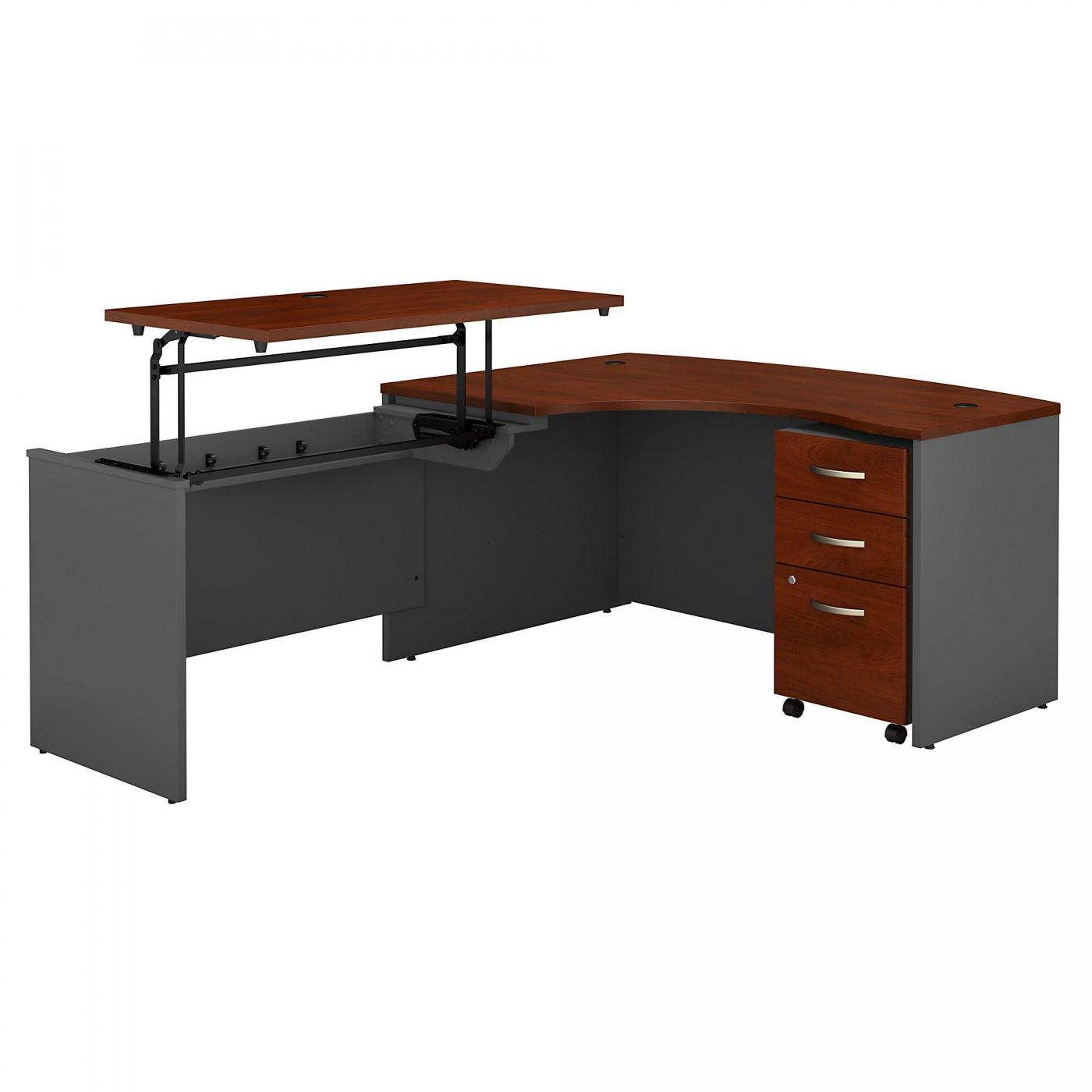 </b></font><b>BUSH BUSINESS FURNITURE SERIES C 60W X 43D RIGHT HAND 3 POSITION SIT TO STAND L SHAPED DESK WITH MOBILE FILE CABINET. FREE SHIPPING. VIDEO:</font> <p>RATING:&#11088;&#11088;&#11088;&#11088;</b></font></b>