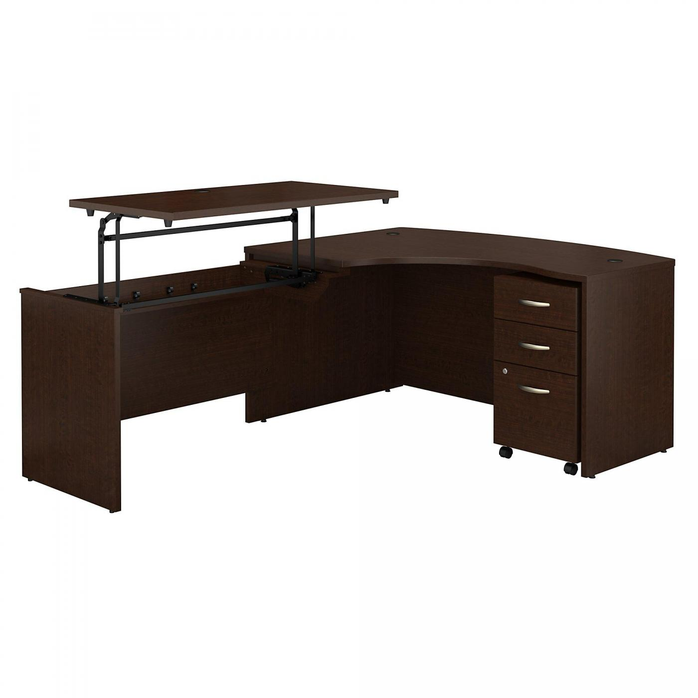 <font color=#c60><b>BUSH BUSINESS FURNITURE SERIES C 60W X 43D RIGHT HAND 3 POSITION SIT TO STAND L SHAPED DESK WITH MOBILE FILE CABINET. FREE SHIPPING. VIDEO:</font></b>