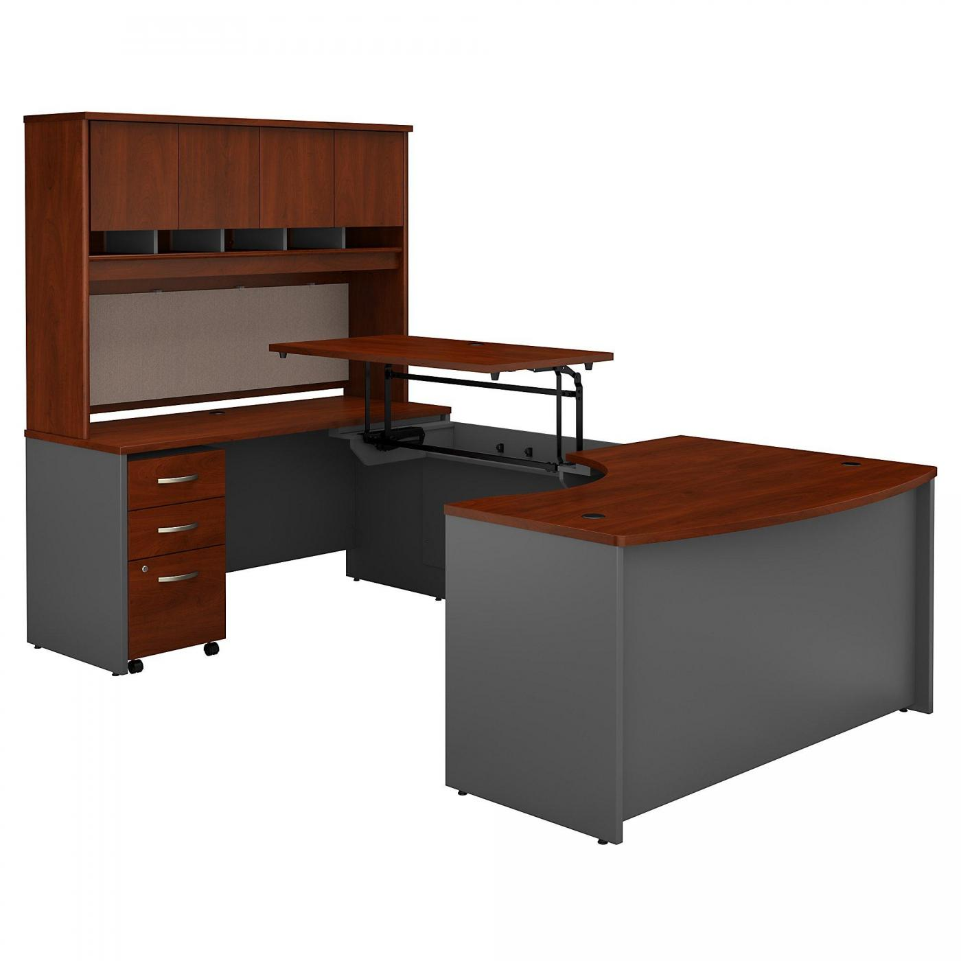 <font color=#c60><b>BUSH BUSINESS FURNITURE SERIES C 60W X 43D RIGHT HAND 3 POSITION SIT TO STAND U SHAPED DESK WITH HUTCH AND MOBILE FILE CABINET. FREE SHIPPING. VIDEO: