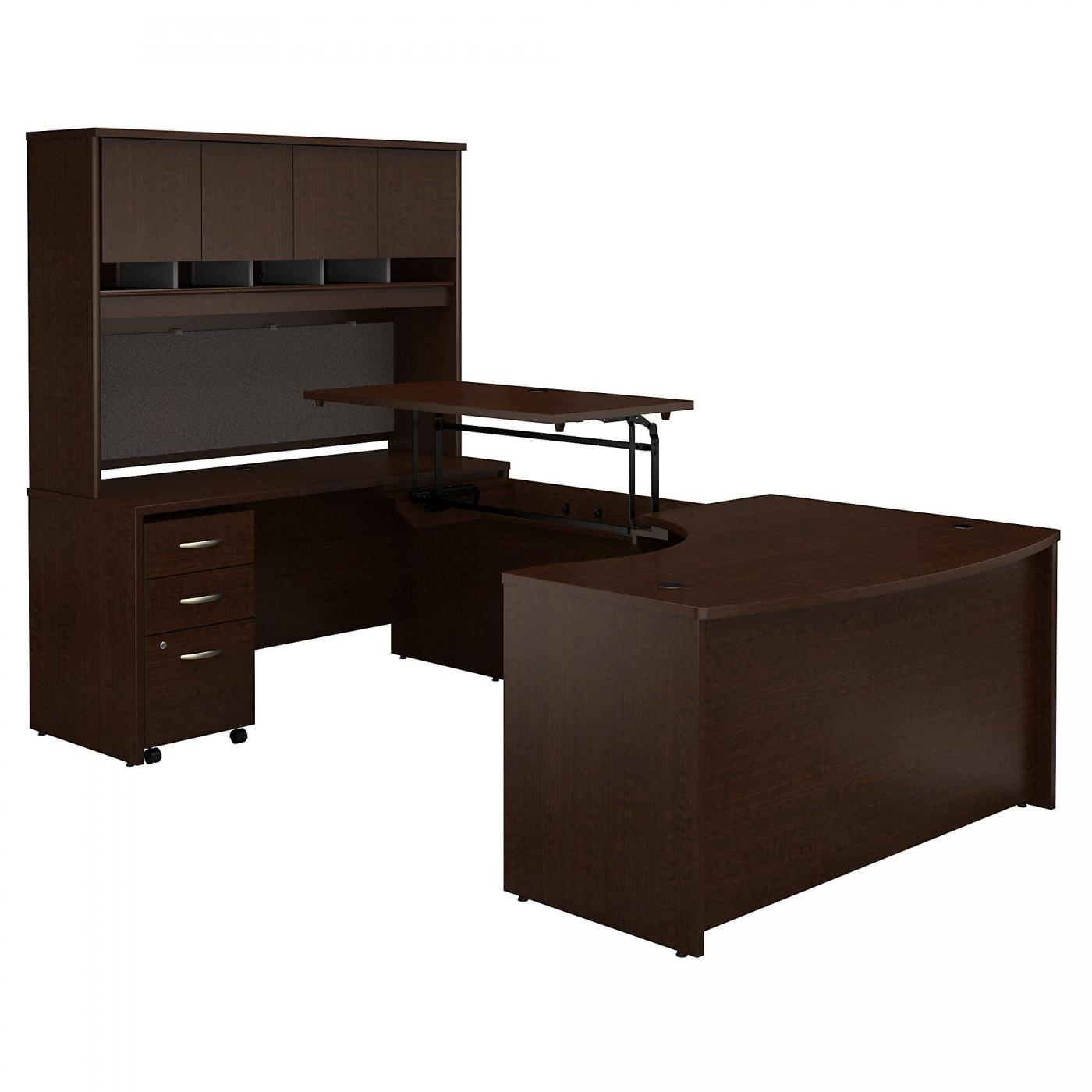 </b></font><b>BUSH BUSINESS FURNITURE SERIES C 60W X 43D RIGHT HAND 3 POSITION SIT TO STAND U SHAPED DESK WITH HUTCH AND MOBILE FILE CABINET. FREE SHIPPING. VIDEO:</font> <p>RATING:&#11088;&#11088;&#11088;&#11088;&#11088;</b></font></b>