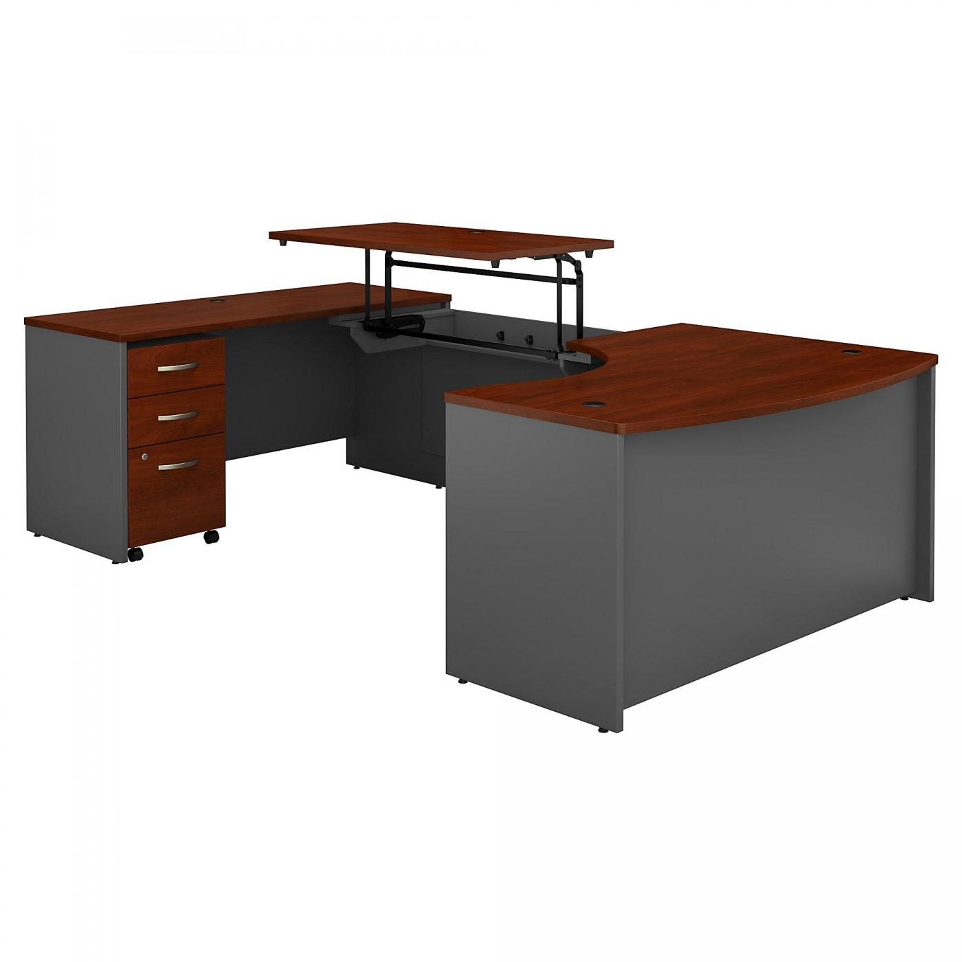 </b></font><b>BUSH BUSINESS FURNITURE SERIES C 60W X 43D RIGHT HAND 3 POSITION SIT TO STAND U SHAPED DESK WITH MOBILE FILE CABINET. FREE SHIPPING. VIDEO:</b></font>  VIDEO BELOW. <p>RATING:&#11088;&#11088;&#11088;&#11088;</b></font></b>