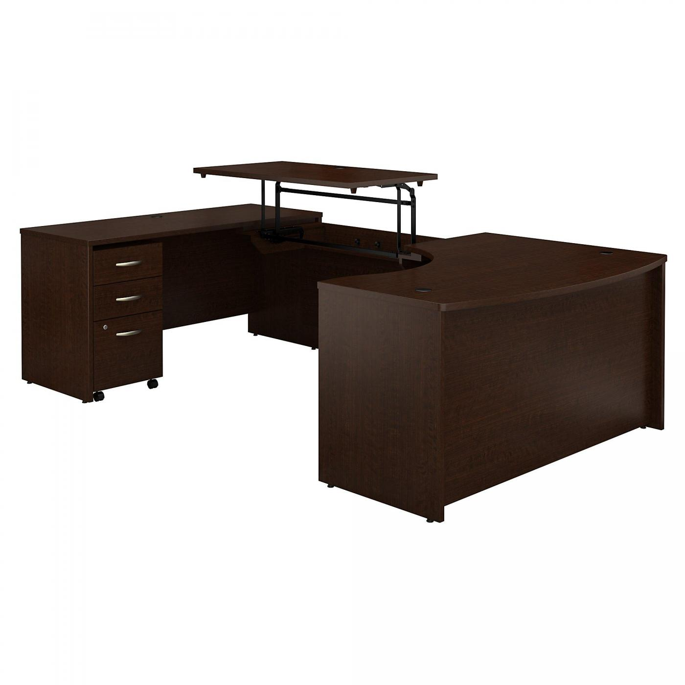 <font color=#c60><b>BUSH BUSINESS FURNITURE SERIES C 60W X 43D RIGHT HAND 3 POSITION SIT TO STAND U SHAPED DESK WITH MOBILE FILE CABINET. FREE SHIPPING. VIDEO:</font></b>