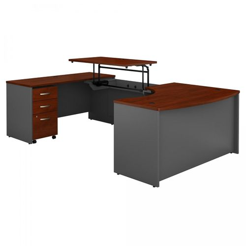 BUSH BUSINESS FURNITURE SERIES C 60W X 43D RIGHT HAND 3 POSITION SIT TO STAND U SHAPED DESK WITH MOBILE FILE CABINET. FREE SHIPPING. VIDEO:  VIDEO BELOW.  SALE DEDUCT 10% MORE ENTER '10percent' IN COUPON CODE BOX WHILE CHECKING OUT.