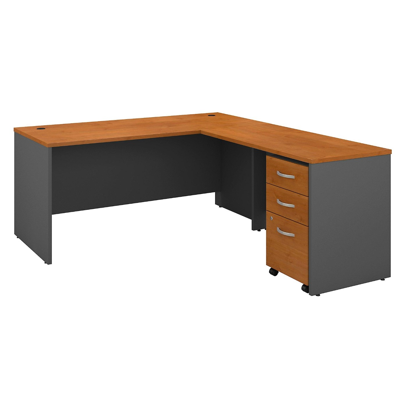 BUSH BUSINESS FURNITURE SERIES C 66W L SHAPED DESK WITH 48W RETURN AND MOBILE FILE CABINET. FREE SHIPPING  VIDEO BELOW.