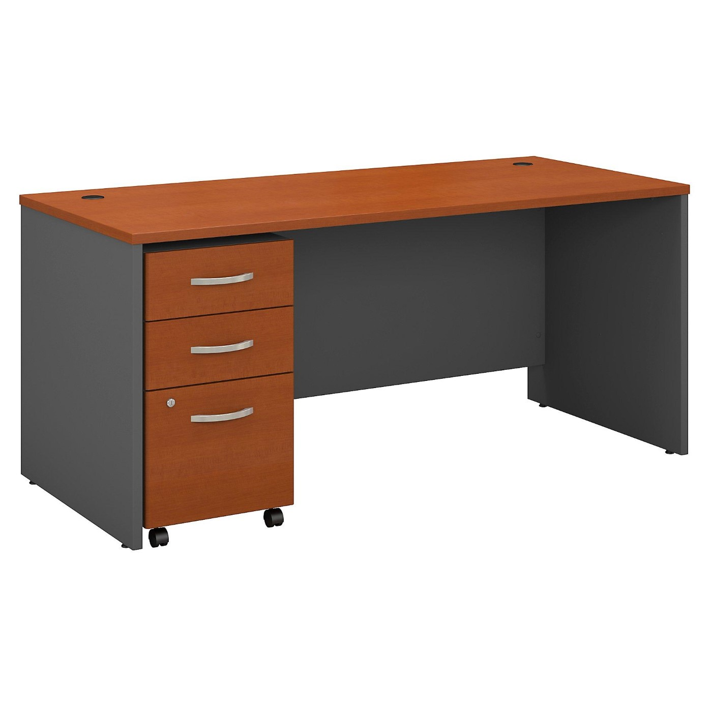 BUSH BUSINESS FURNITURE SERIES C 66W X 30D OFFICE DESK WITH MOBILE FILE CABINET. FREE SHIPPING  VIDEO BELOW.