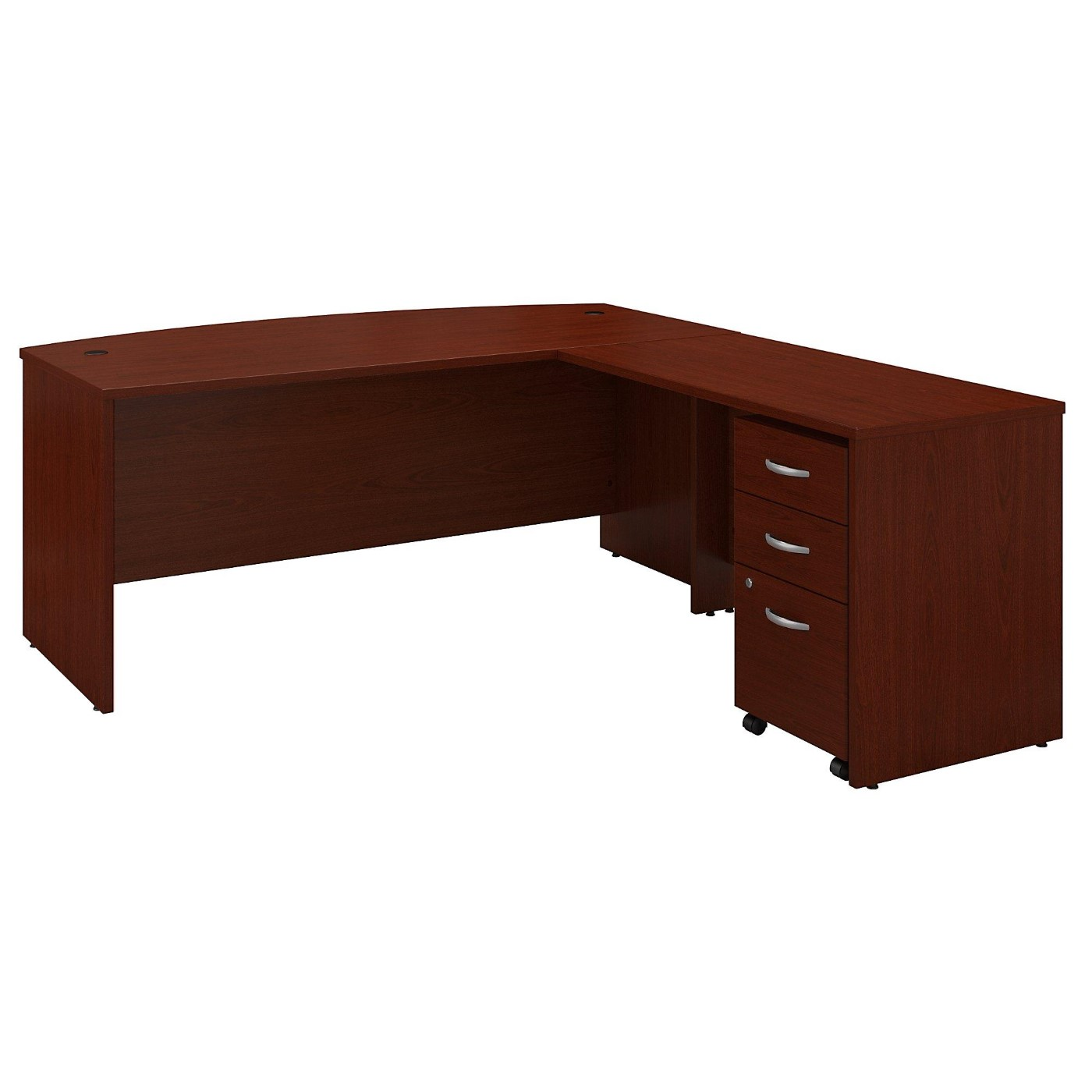 BUSH BUSINESS FURNITURE SERIES C 72W BOW FRONT L SHAPED DESK WITH 48W RETURN AND MOBILE FILE CABINET. FREE SHIPPING  VIDEO BELOW.