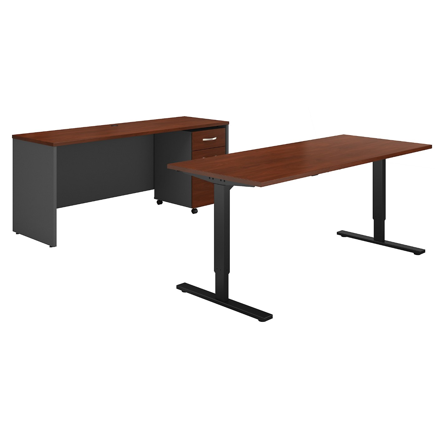 BUSH BUSINESS FURNITURE SERIES C 72W HEIGHT ADJUSTABLE STANDING DESK, CREDENZA AND STORAGE. FREE SHIPPING
