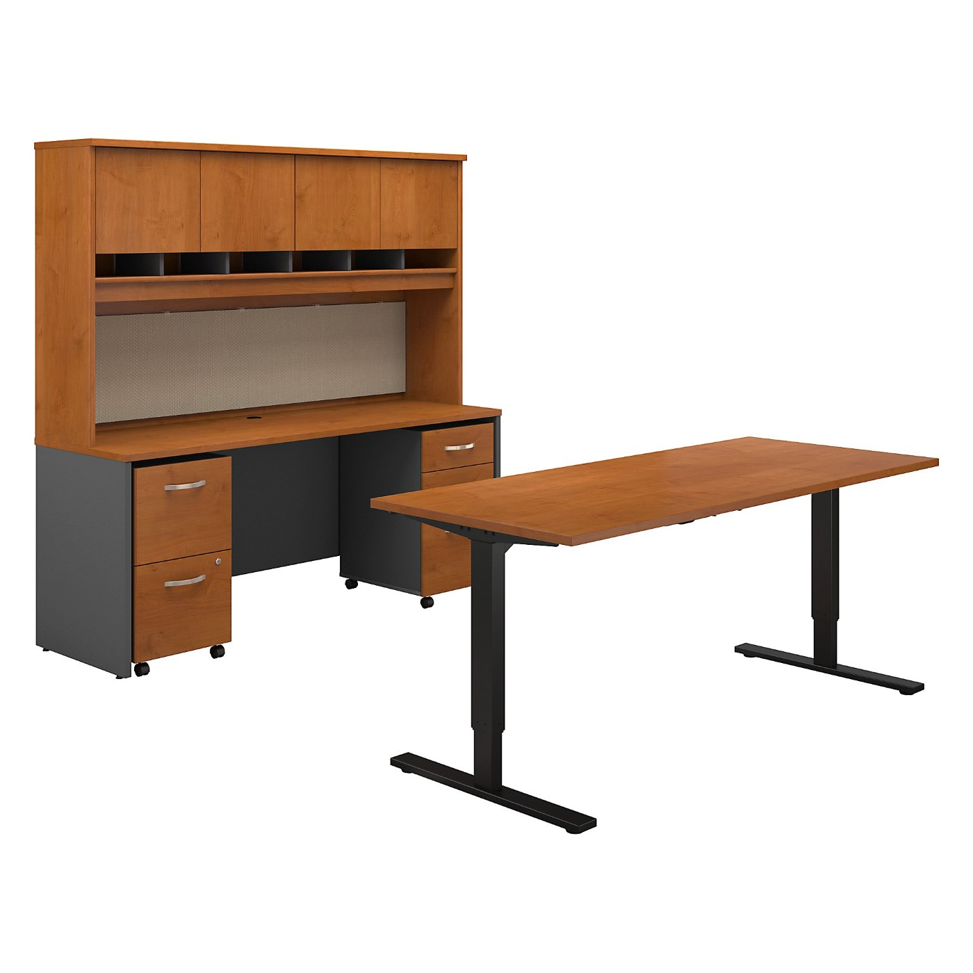 BUSH BUSINESS FURNITURE SERIES C 72W HEIGHT ADJUSTABLE STANDING DESK, CREDENZA, HUTCH AND STORAGE. FREE SHIPPING