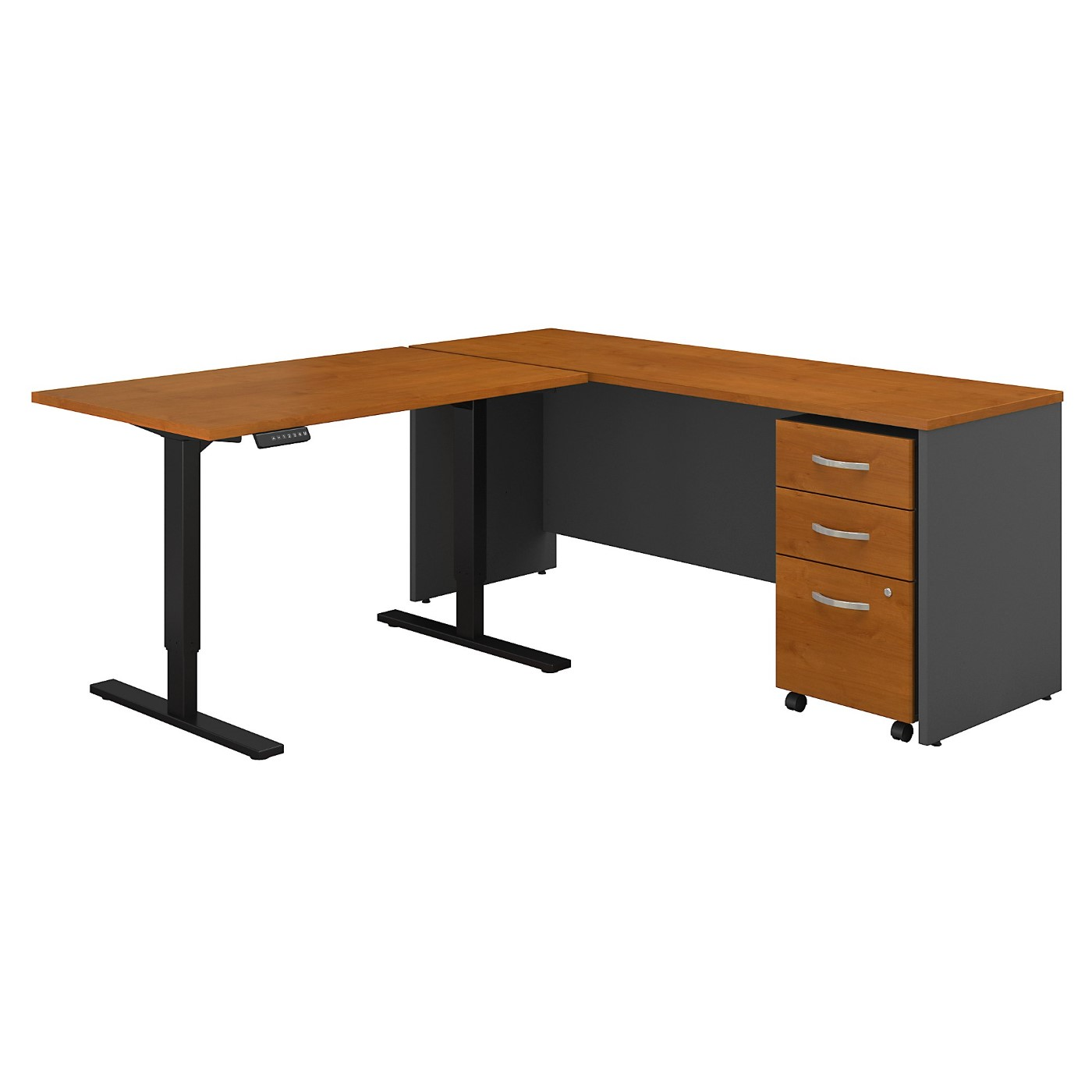 BUSH BUSINESS FURNITURE SERIES C 72W L SHAPED DESK WITH 48W HEIGHT ADJUSTABLE RETURN AND STORAGE. FREE SHIPPING