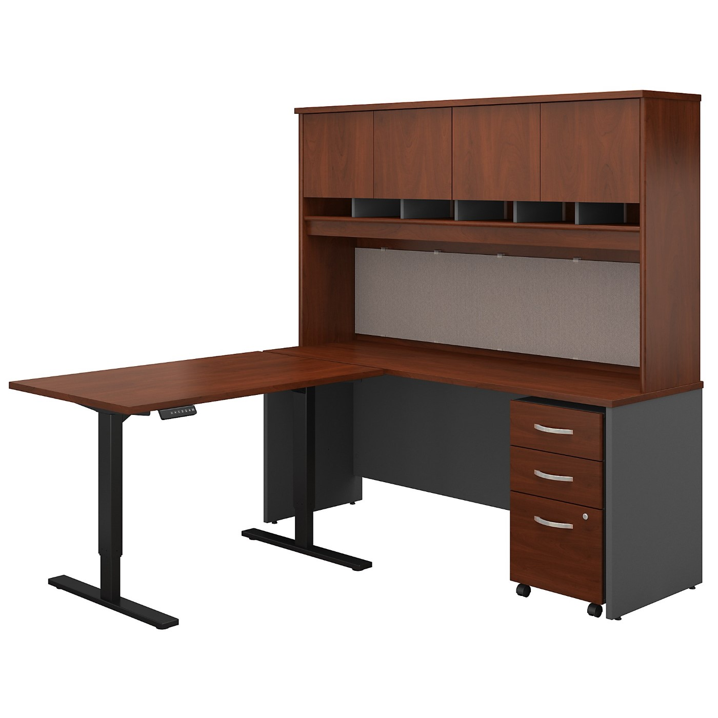 BUSH BUSINESS FURNITURE SERIES C 72W L SHAPED DESK WITH 48W HEIGHT ADJUSTABLE RETURN, HUTCH AND STORAGE. FREE SHIPPING