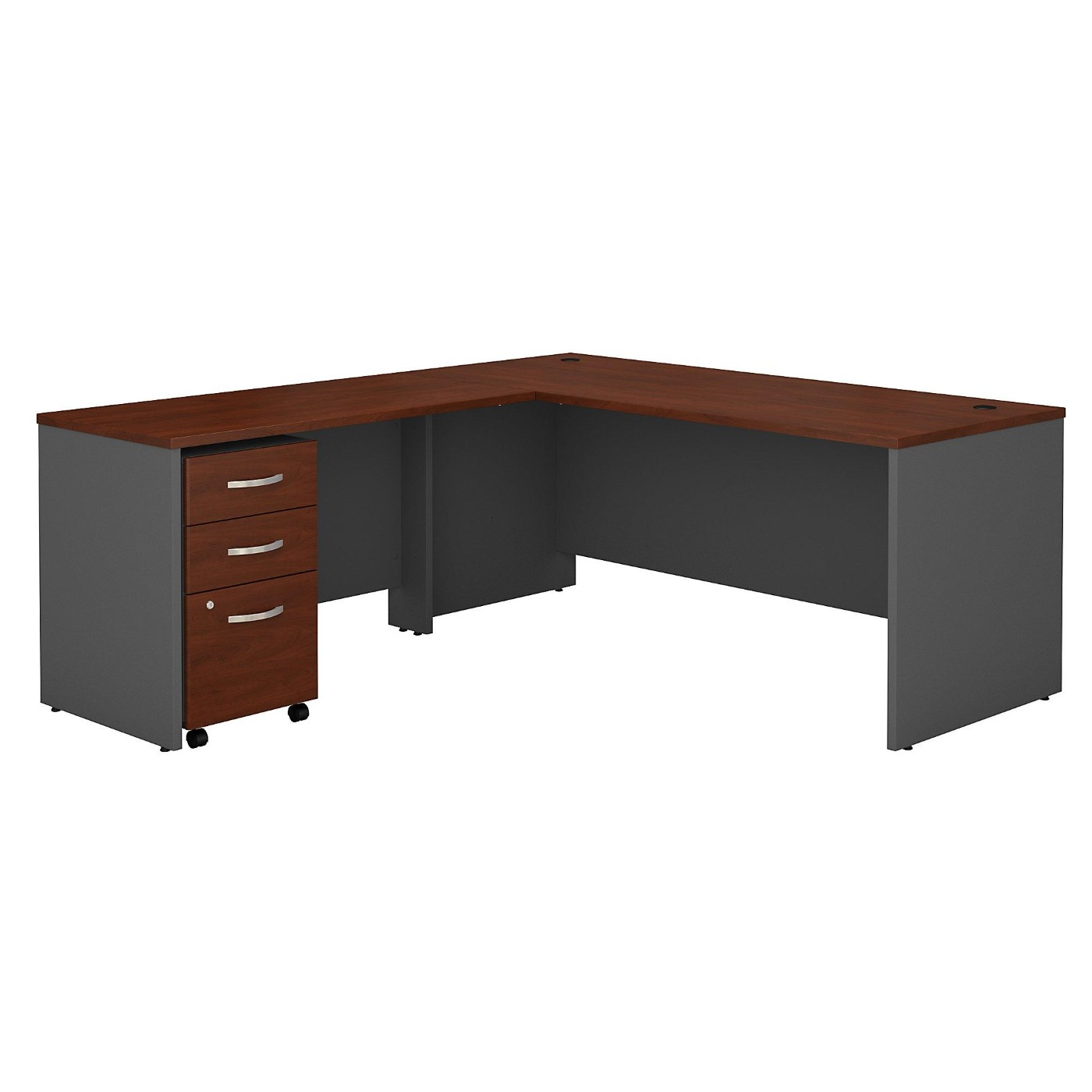 BUSH BUSINESS FURNITURE SERIES C 72W L SHAPED DESK WITH 48W RETURN AND MOBILE FILE CABINET. FREE SHIPPING.