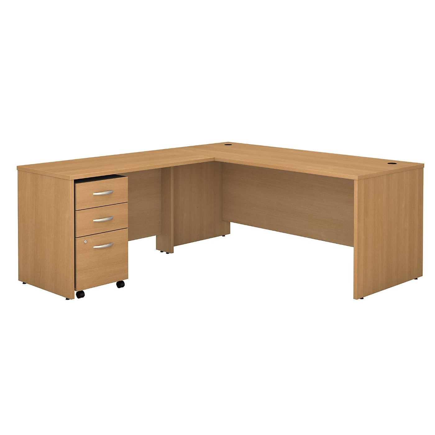 BUSH BUSINESS FURNITURE SERIES C 72W L SHAPED DESK WITH 48W RETURN AND MOBILE FILE CABINET. FREE SHIPPING  VIDEO BELOW.