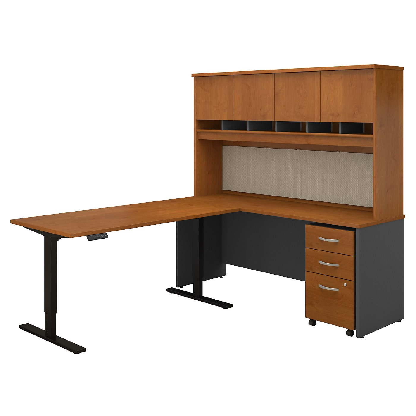 BUSH BUSINESS FURNITURE SERIES C 72W L SHAPED DESK WITH 60W HEIGHT ADJUSTABLE RETURN, HUTCH AND STORAGE. FREE SHIPPING