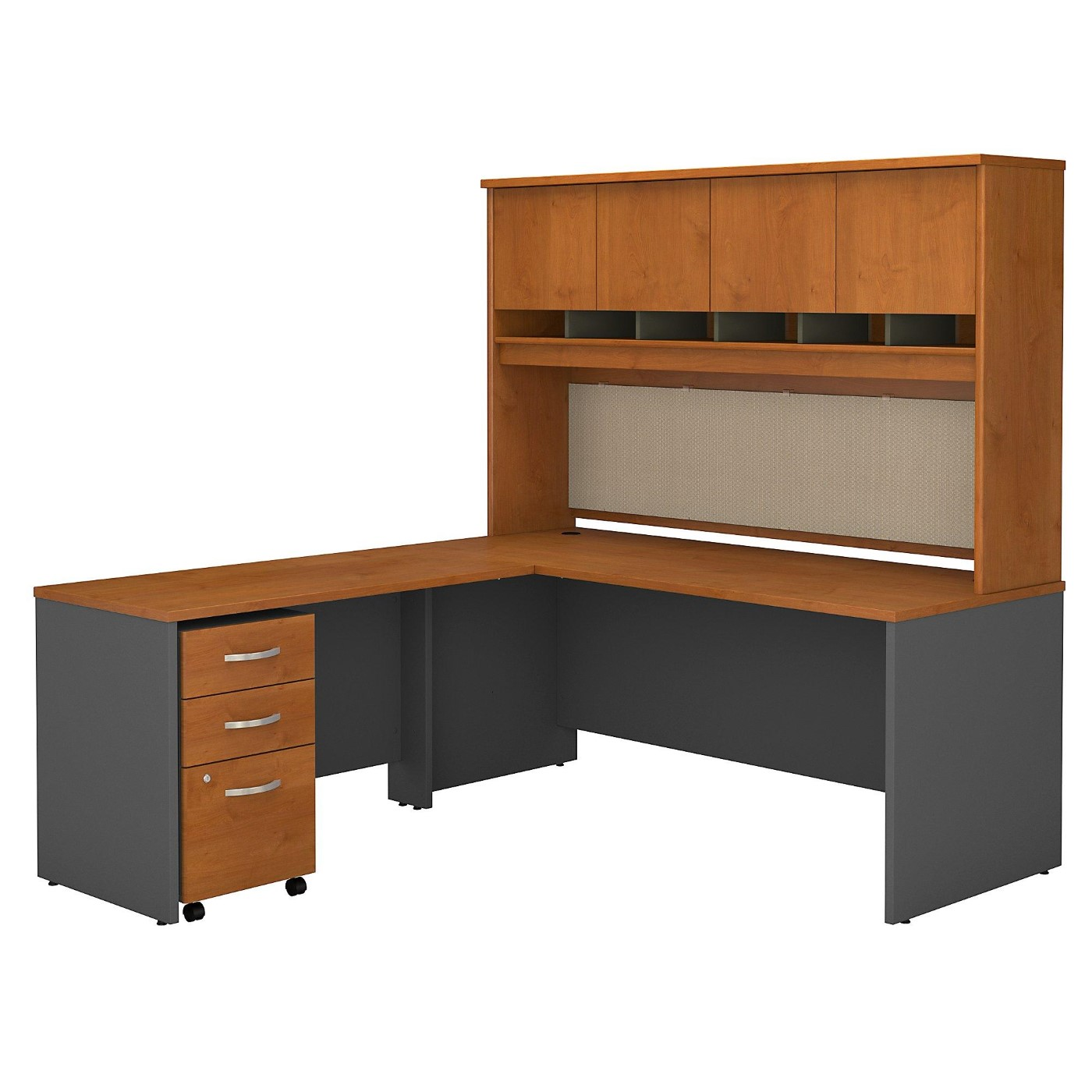 <font color=#c60><b>BUSH BUSINESS FURNITURE SERIES C 72W L SHAPED DESK WITH HUTCH AND MOBILE FILE CABINET. FREE SHIPPING</font></b>
