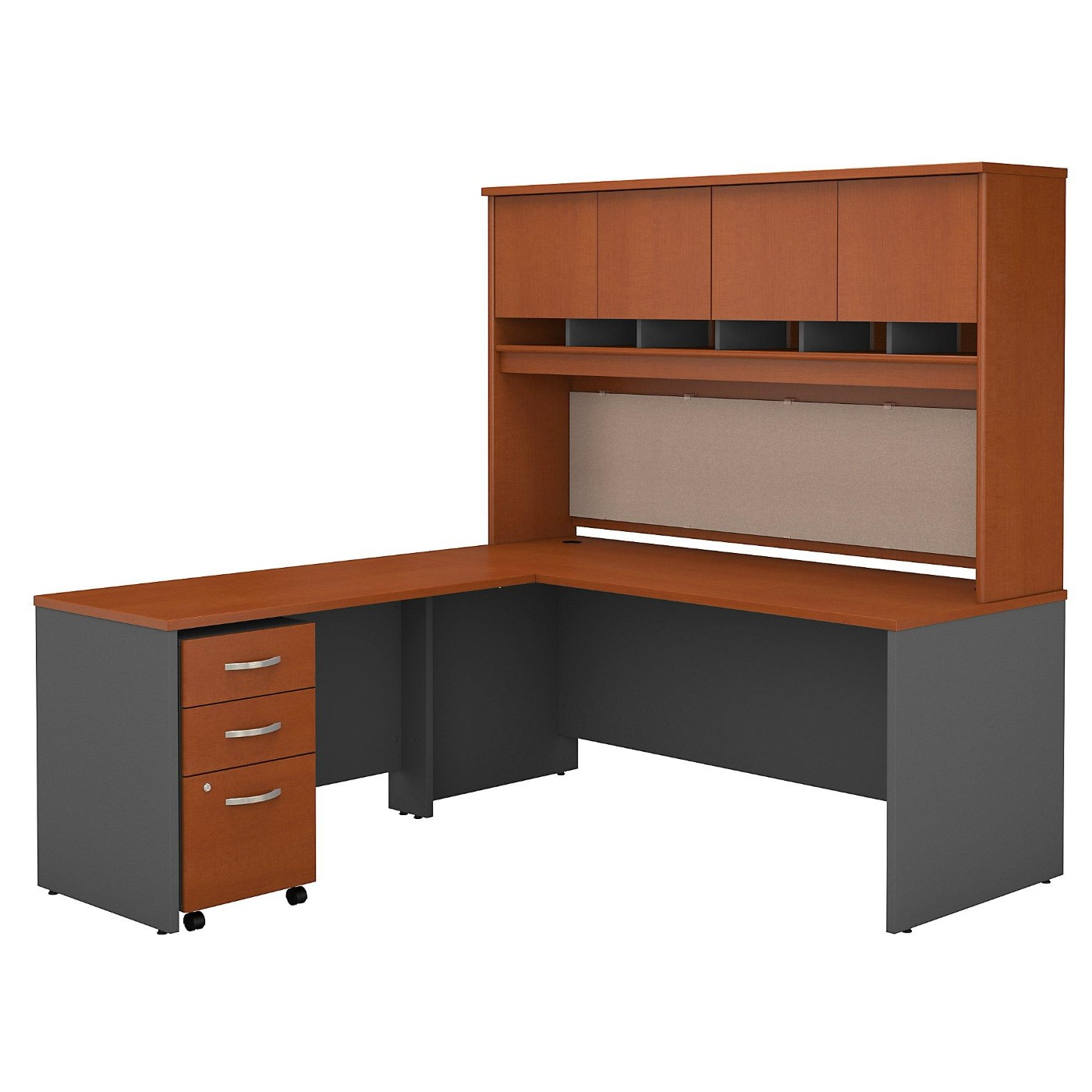 BUSH BUSINESS FURNITURE SERIES C 72W L SHAPED DESK WITH HUTCH AND MOBILE FILE CABINET. FREE SHIPPING.