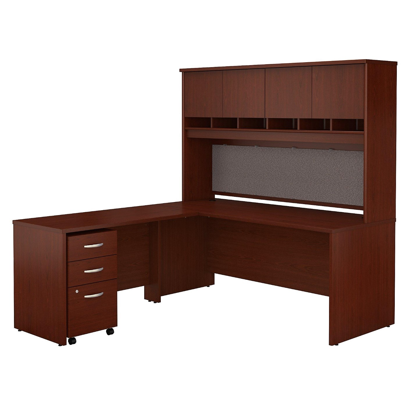 BUSH BUSINESS FURNITURE SERIES C 72W L SHAPED DESK WITH HUTCH AND MOBILE FILE CABINET. FREE SHIPPING  VIDEO BELOW.